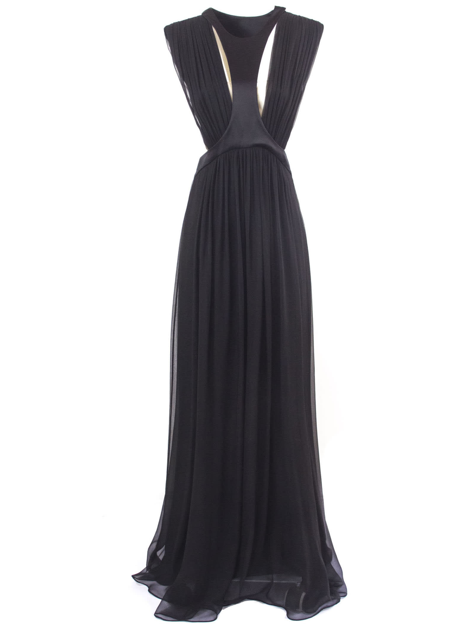 Alberta Ferretti Black Silk Draped Long Dress