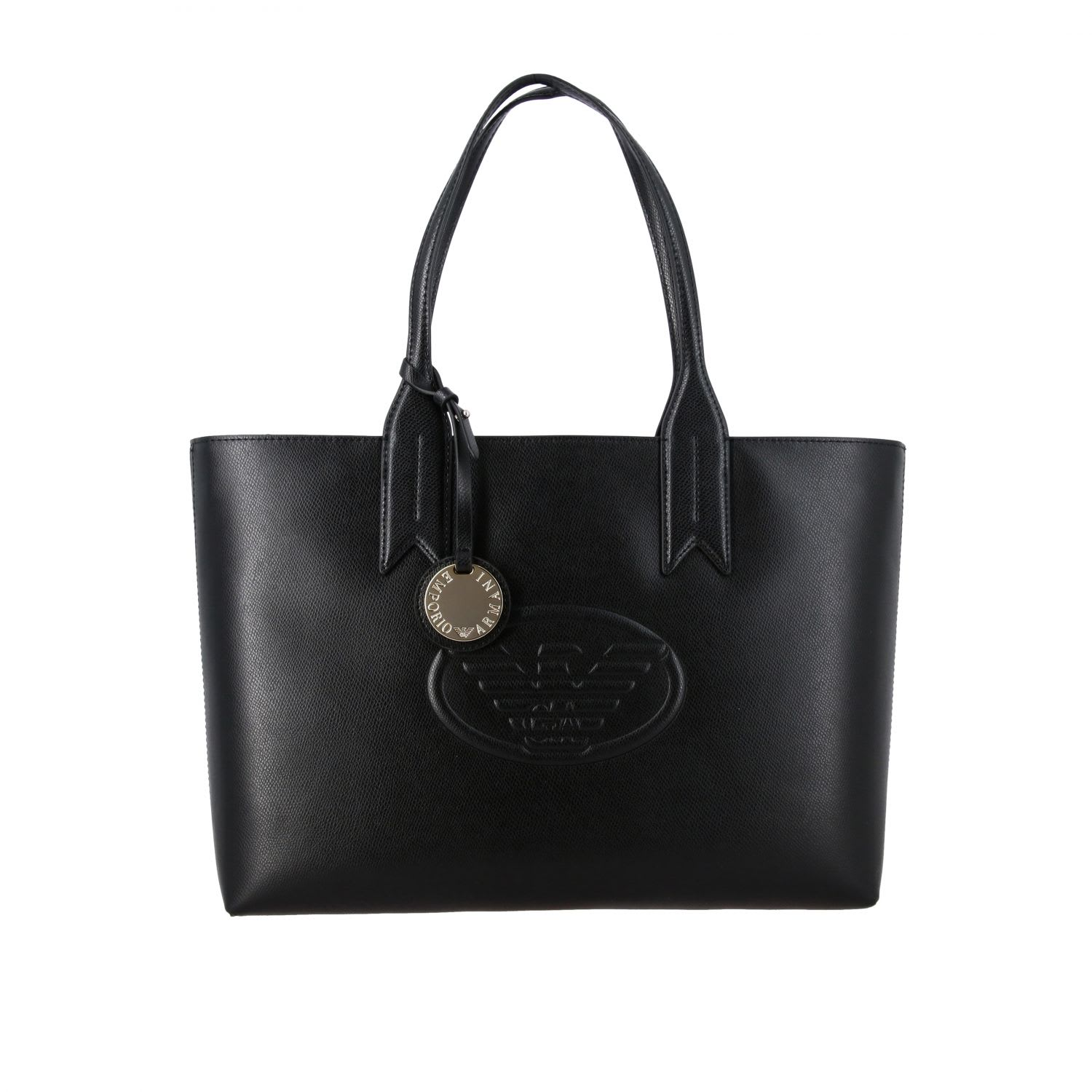 Emporio Armani Shopping Bag In Synthetic Leather With Logo In Black