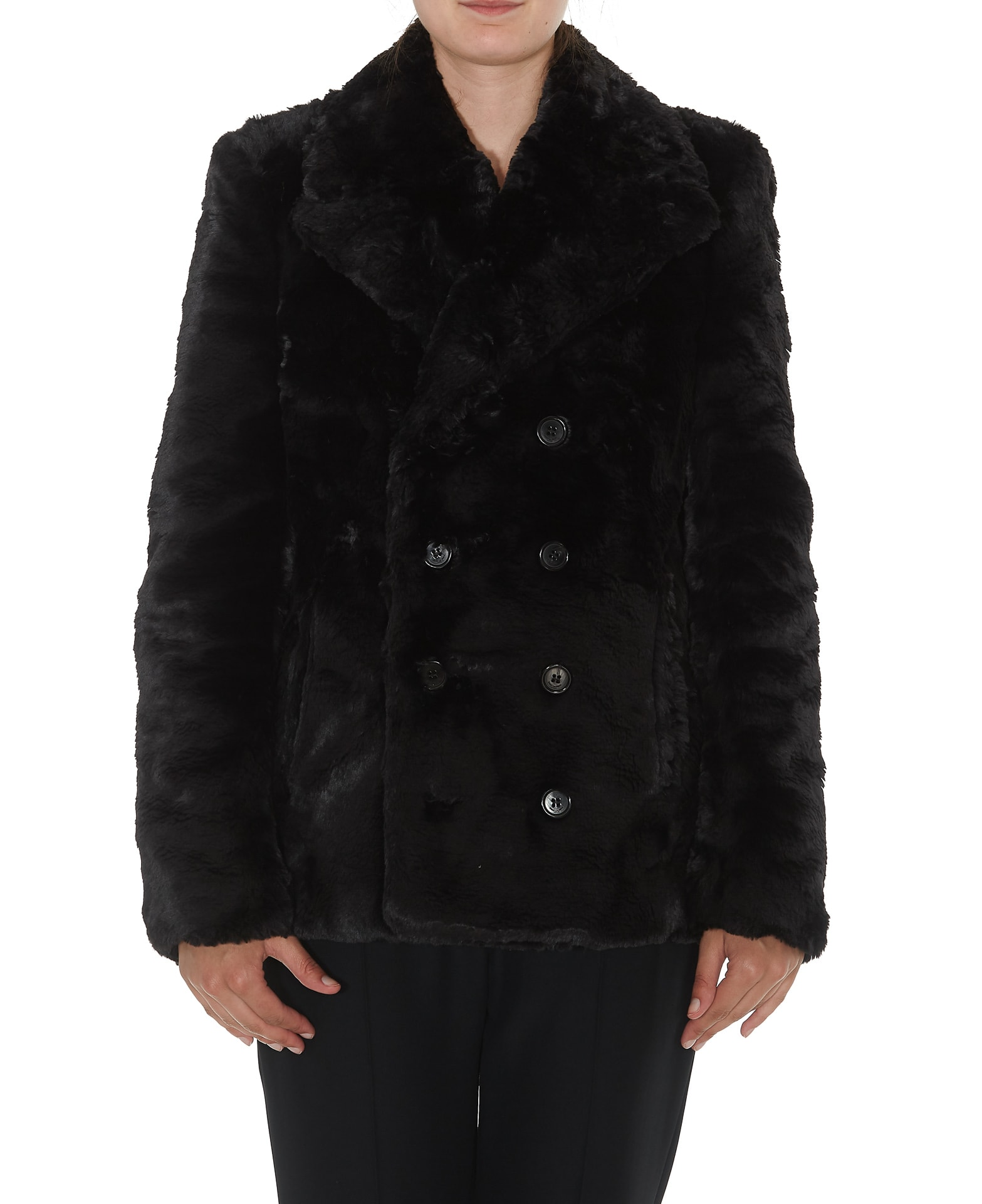 Saint Laurent Faux Fur Pea Coat