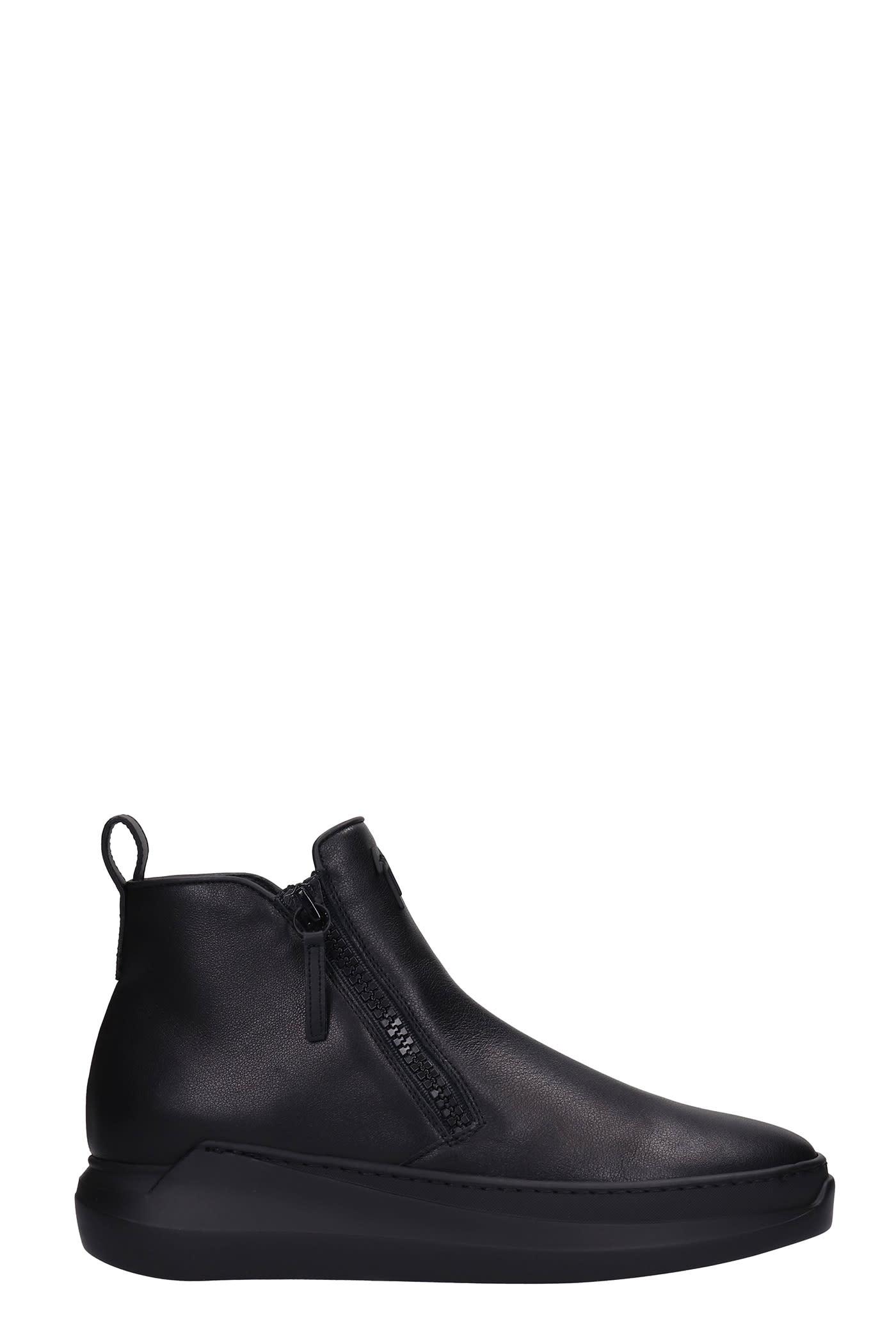 Giuseppe Zanotti Conley Zip Sneakers In Black Leather