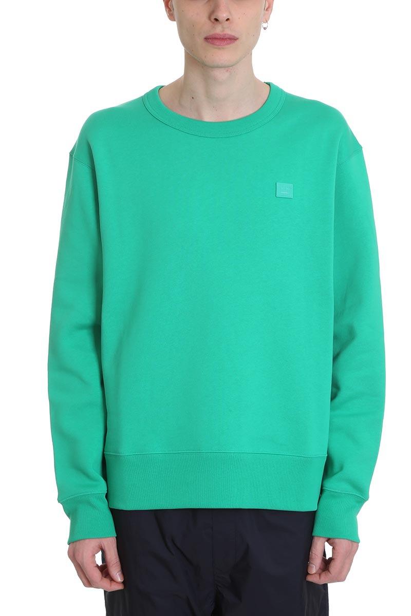 Acne Studios Fairview Face Sweatshirt In Green Cotton