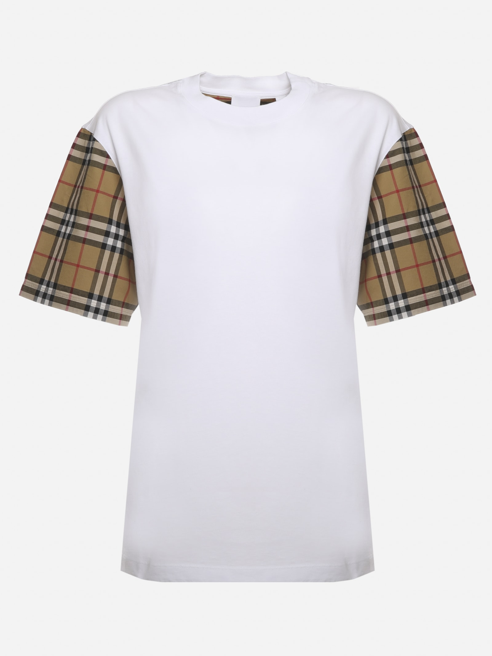 Burberry COTTON T-SHIRT WITH VINTAGE CHECK SLEEVES
