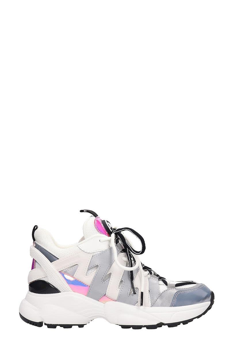 Michael Kors Hero Trainer Sneakers In Silver Leather