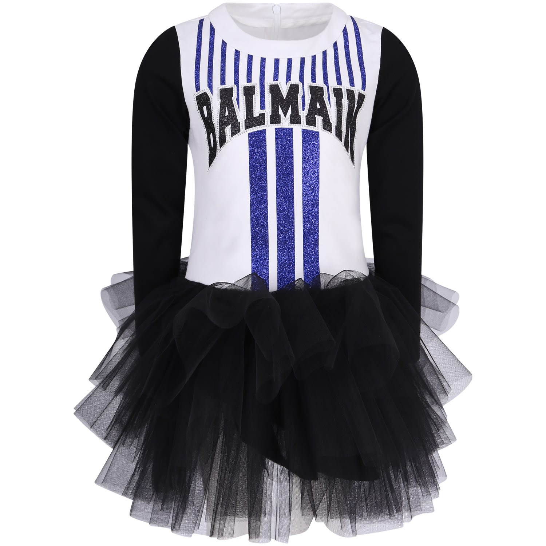 Balmain White And Black Girl Dress With Logo