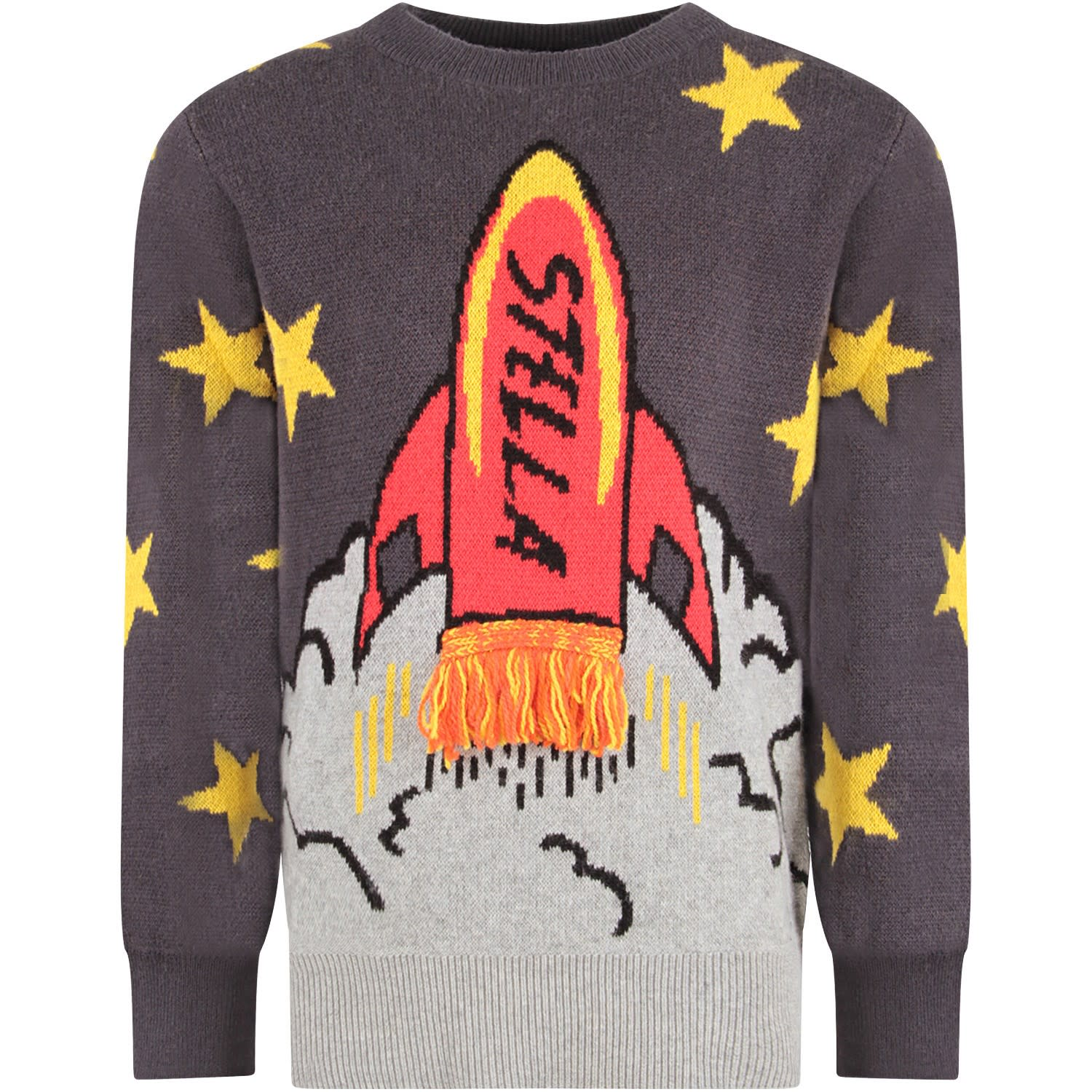 Color: Grey Grey sweater with long sleeves and ribbed crew-neck, cuffs and hemline. It is embellished with colorful shuttle with black logo and fringes, on the front and yellow stars all-over. 95% Organic cotton 5% Elastan. Hand wash.