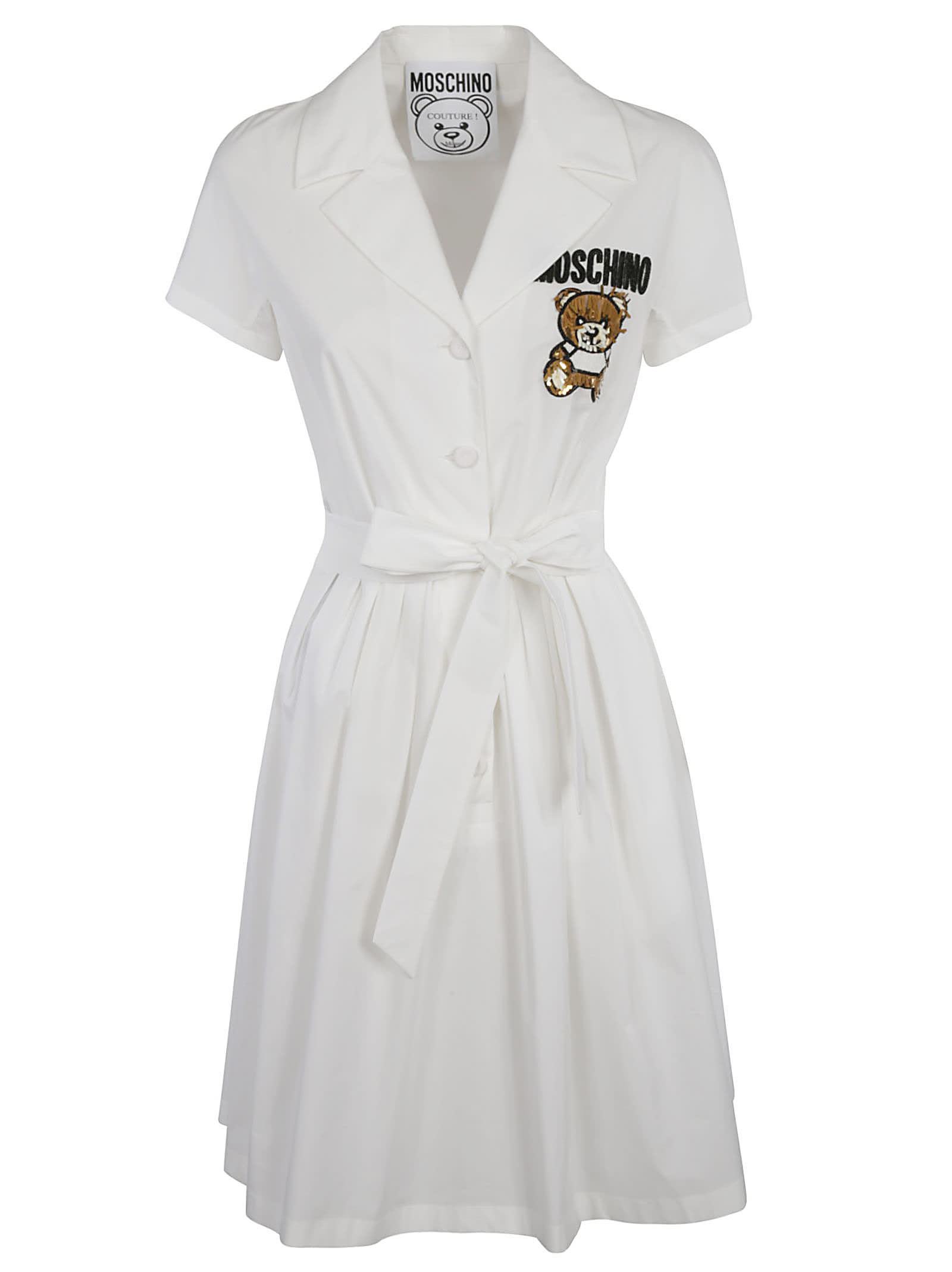 Buy Moschino Tie-waist Embroidered Dress online, shop Moschino with free shipping