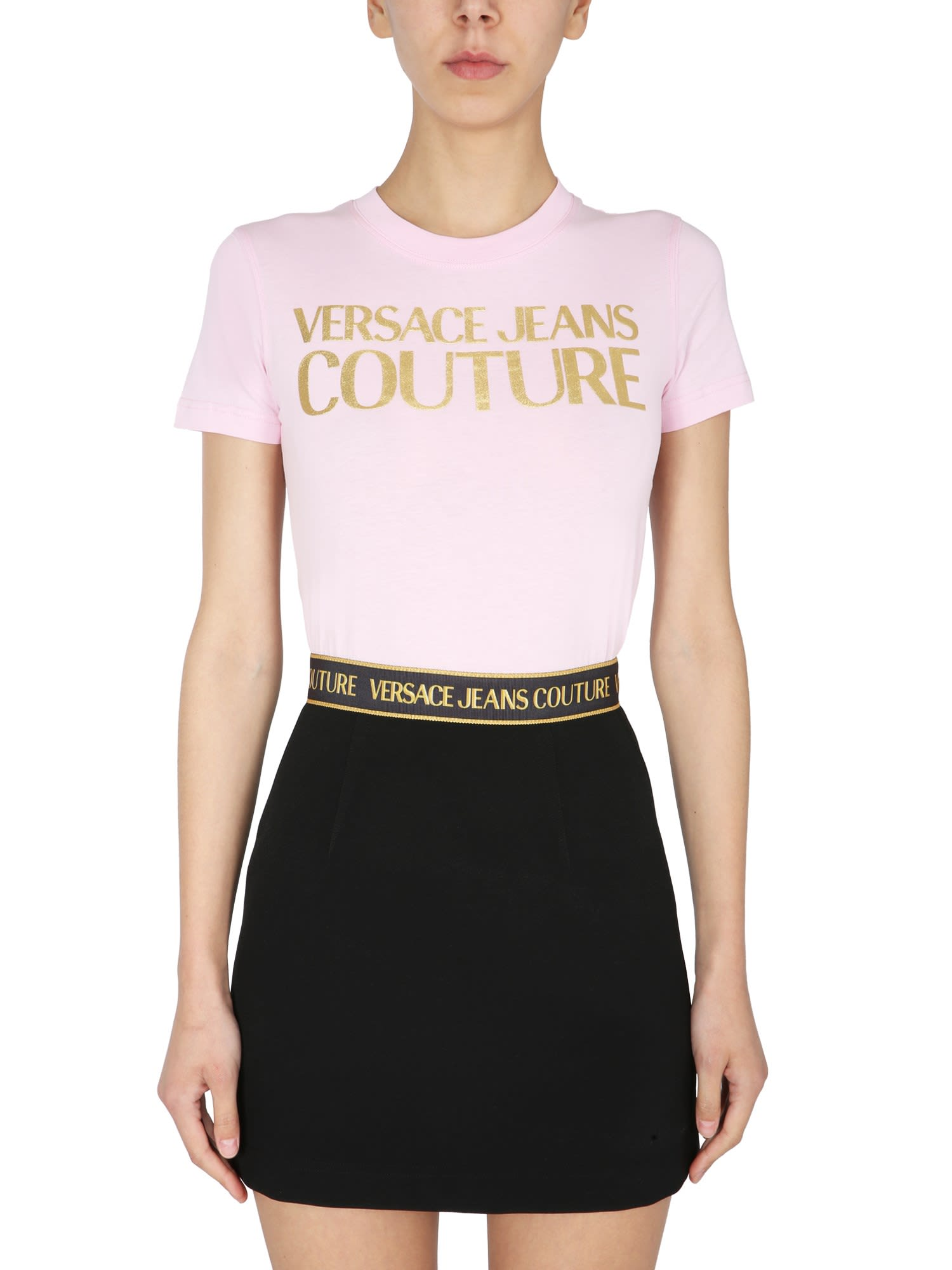 Versace Jeans Couture T-SHIRT WITH METALLIC LOGO