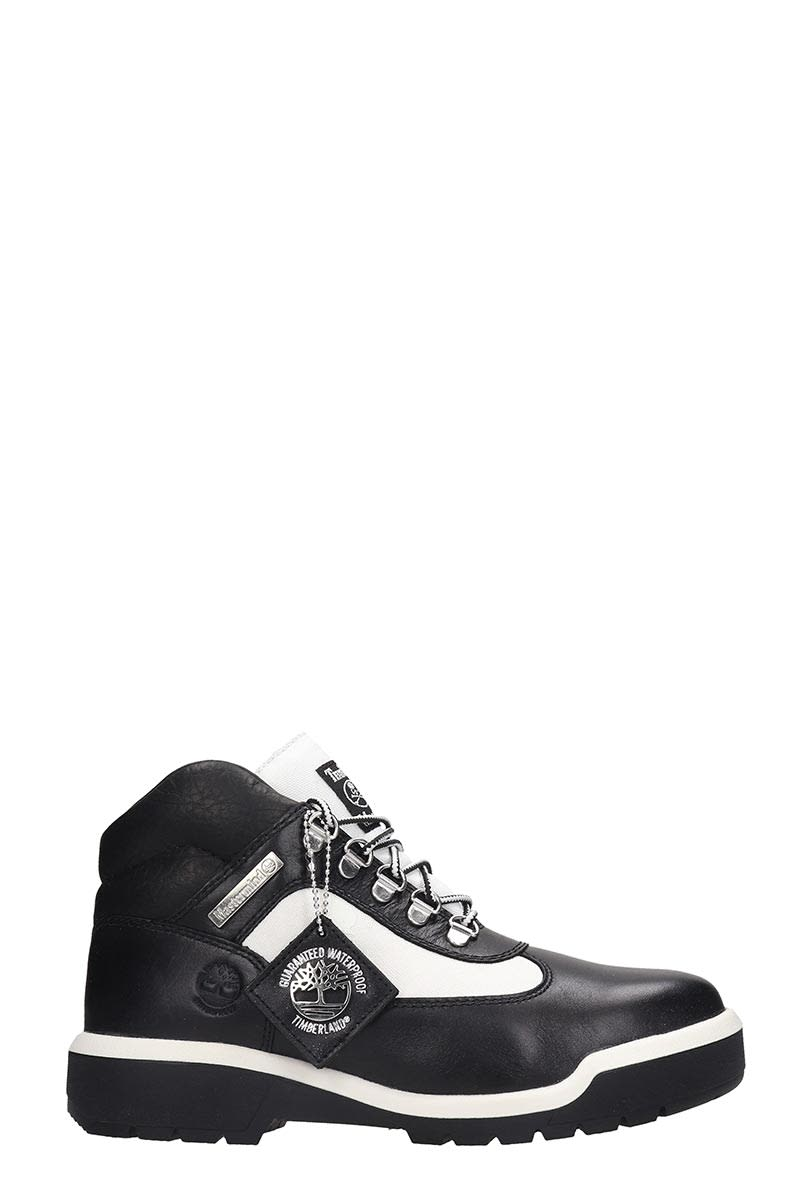 Mastermind Japan Field Boot Combat Boots In White Leather And Fabric