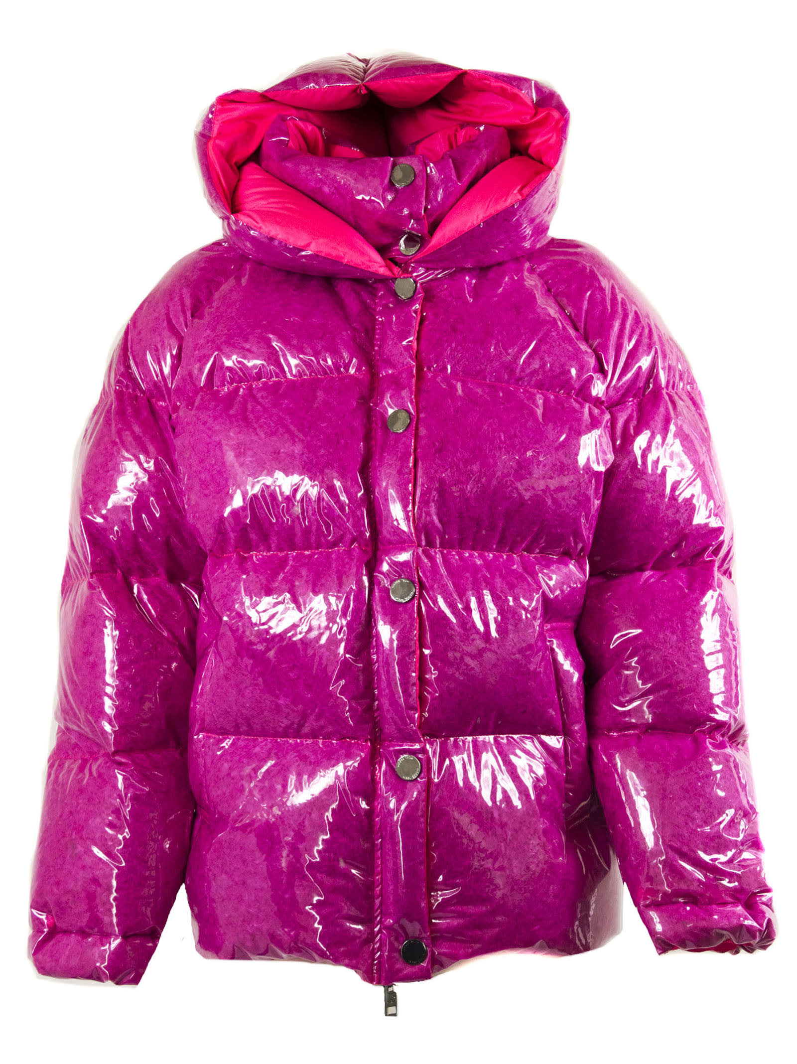 Goose Tech Down Jacket In Fluorescent Fuchsia