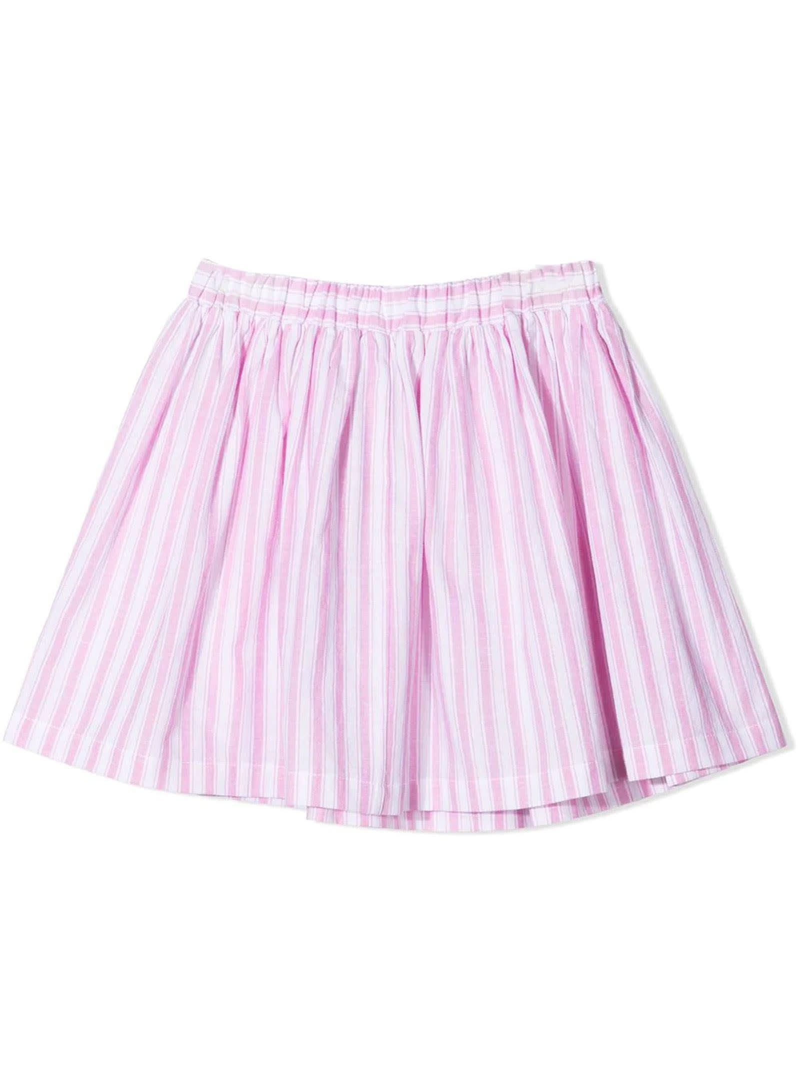 Rose-pink Cotton-linen Blend Skirt