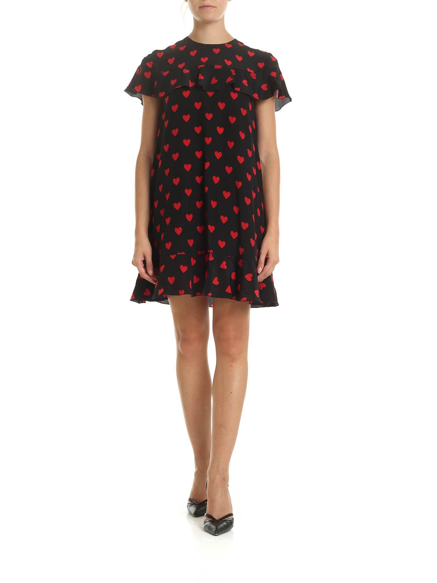 RED Valentino Hearts Print Silk Dress