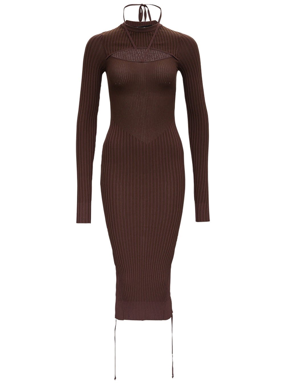 Cut-out Dress In Brown Ribbed Knit