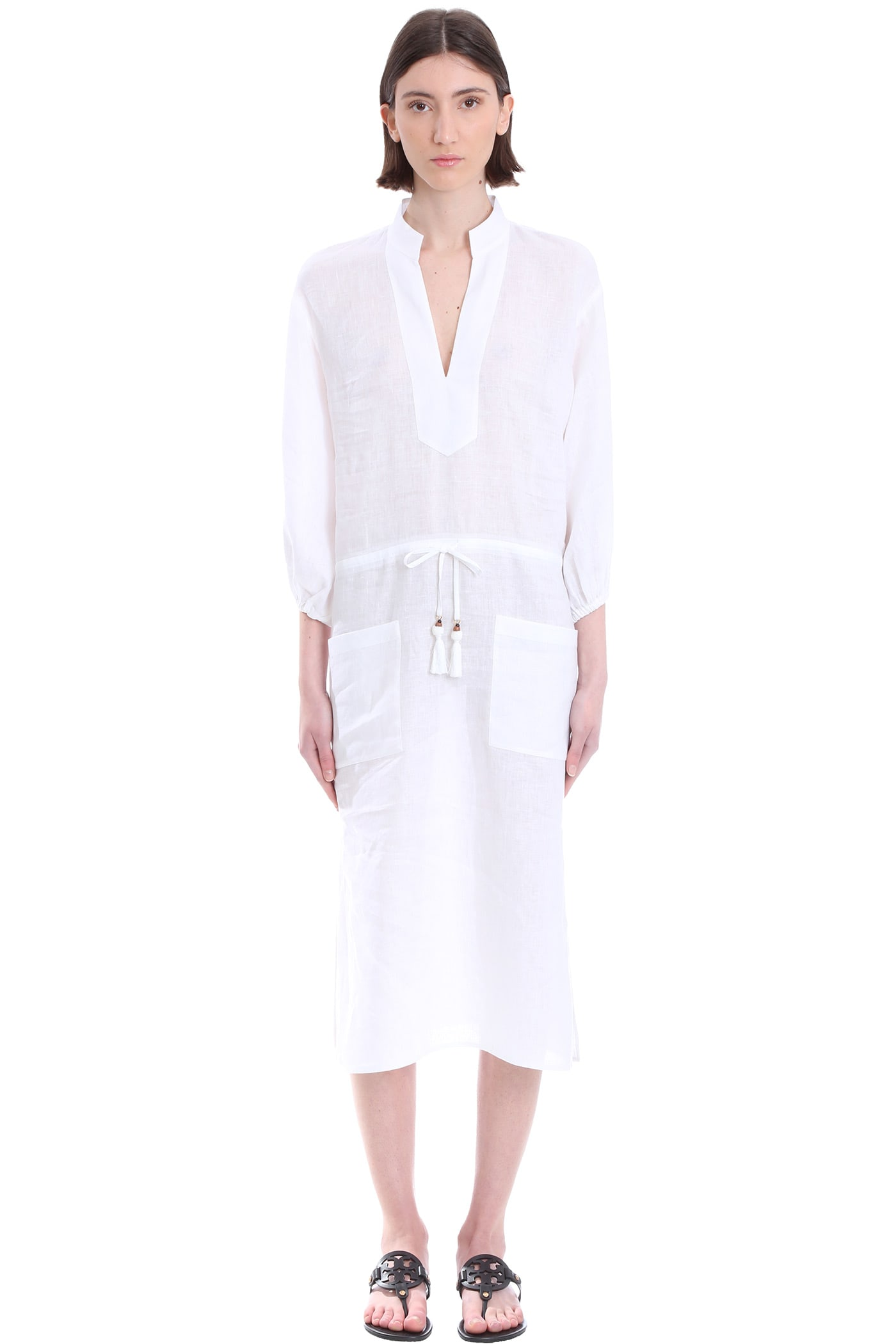 Tory Burch Tunic Dress In White Linen