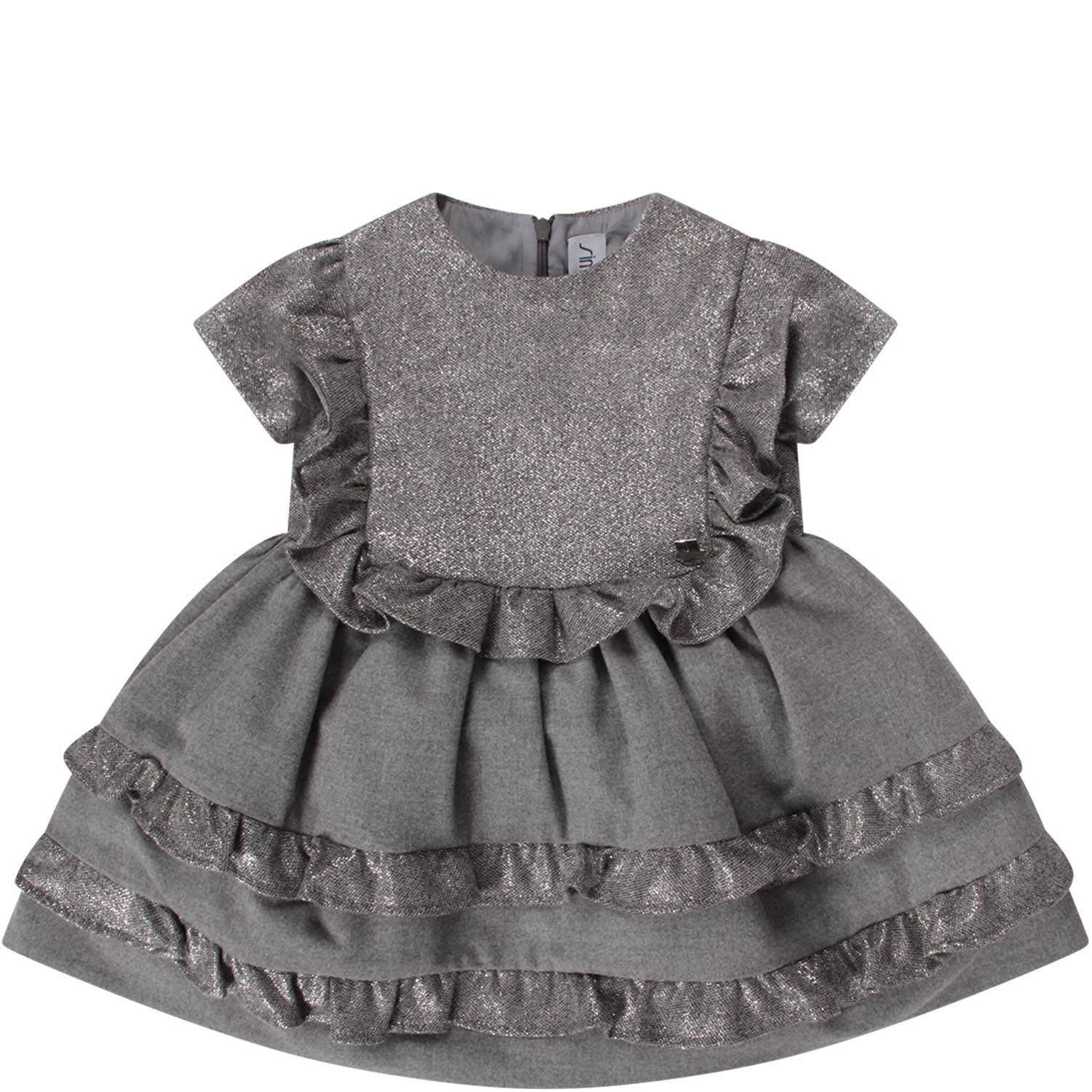 Simonetta Grey Girl Dress With Metallic Logo