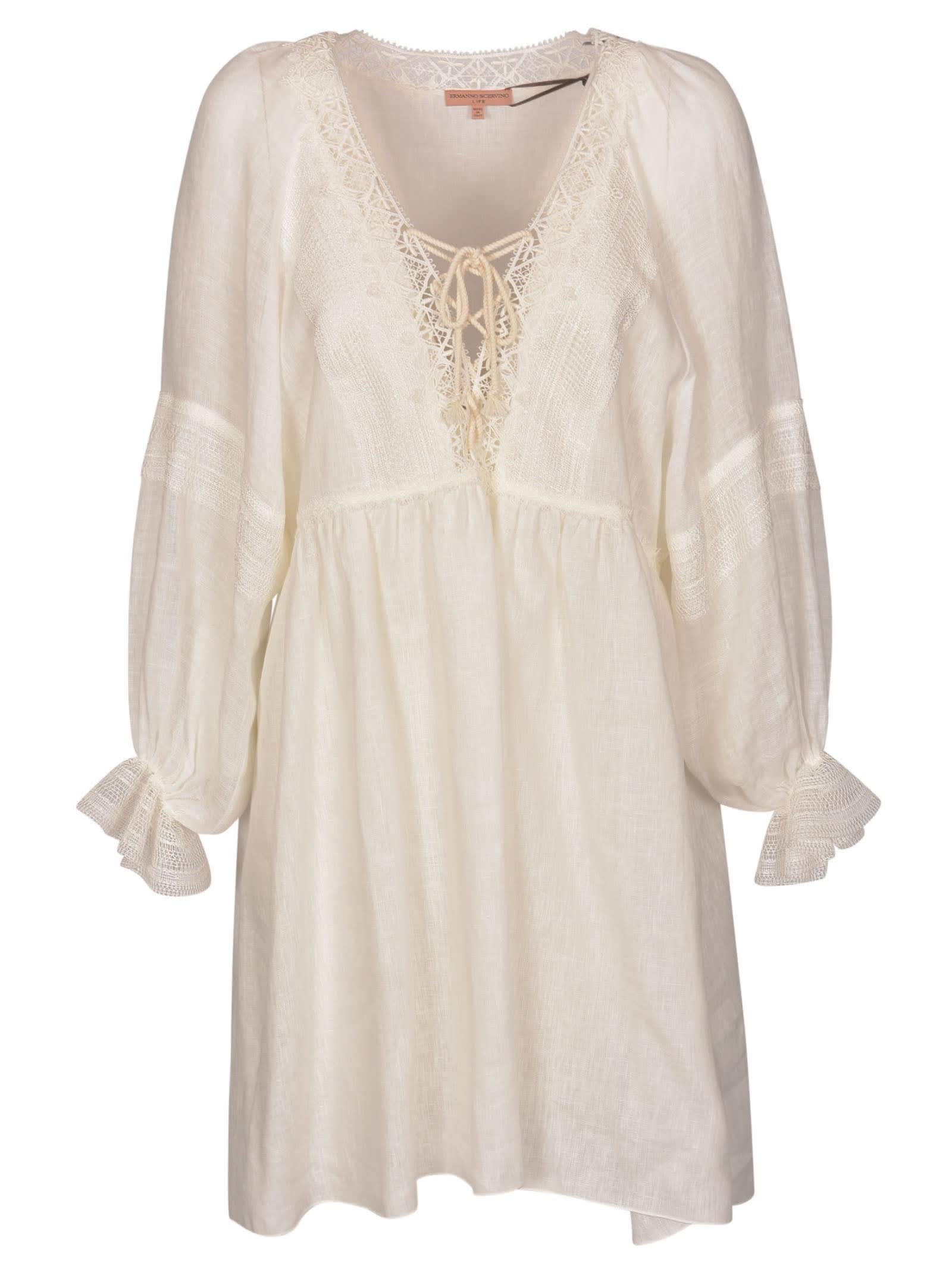 Ermanno Scervino Lace-up Front V-neck Dress