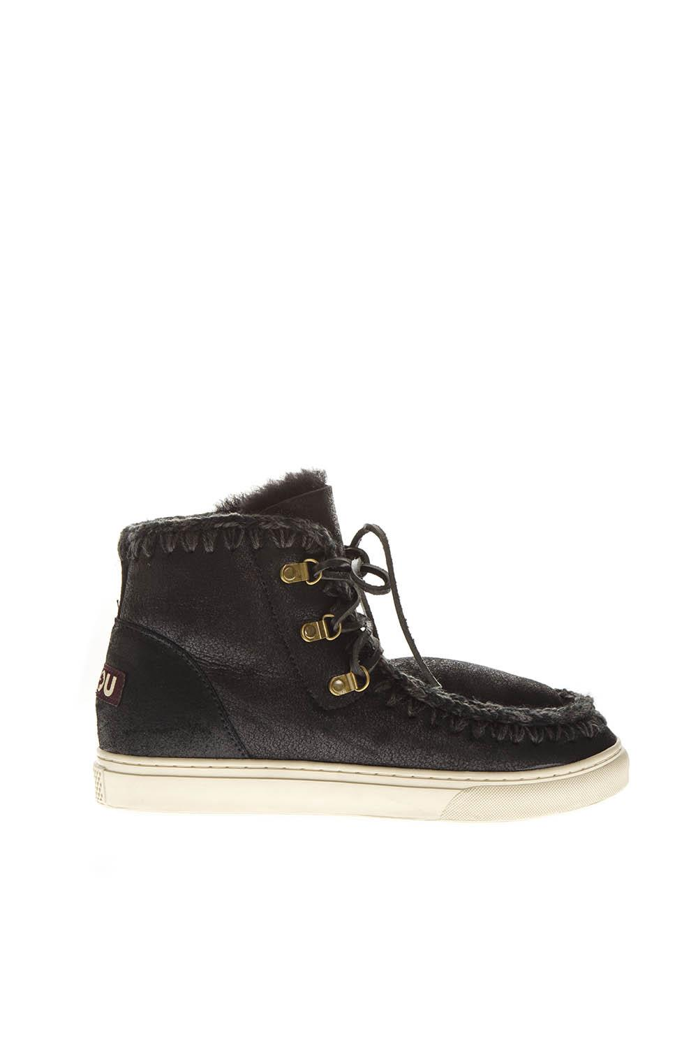 Mou Black Leather Laced Up Boots