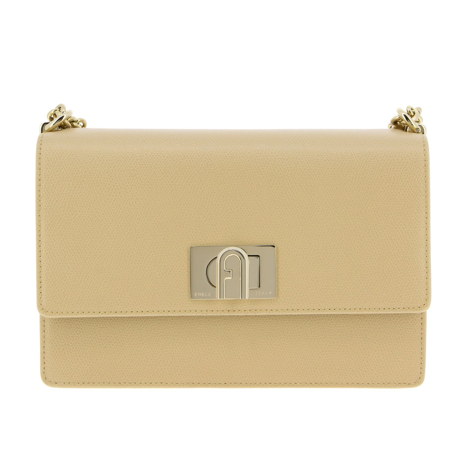 Furla Leather Bag In Sand