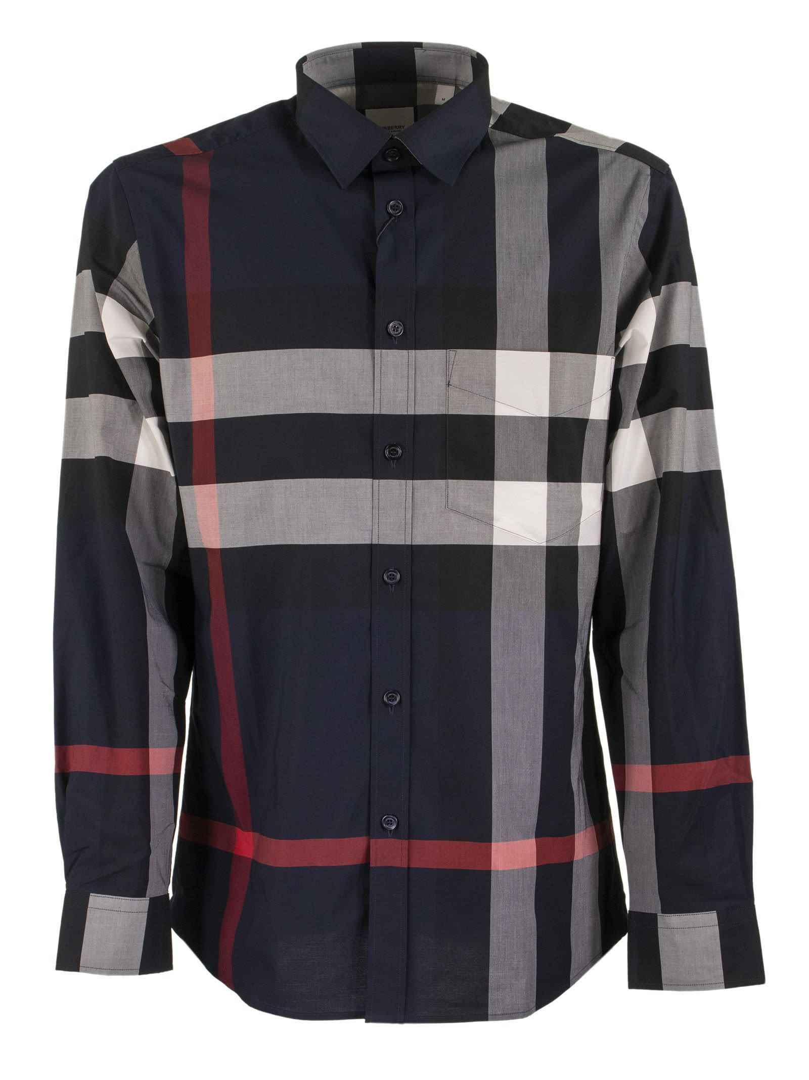 Burberry Cottons SOMERTON CHECK STRETCH COTTON POPLIN SHIRT