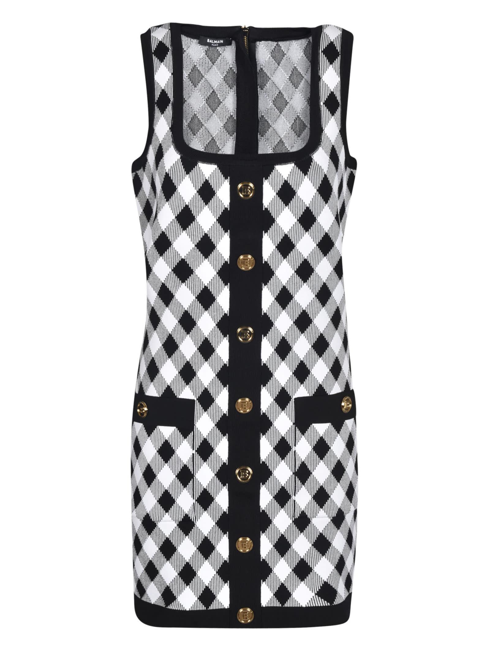 Balmain Sleeveless Button Embellished Dress