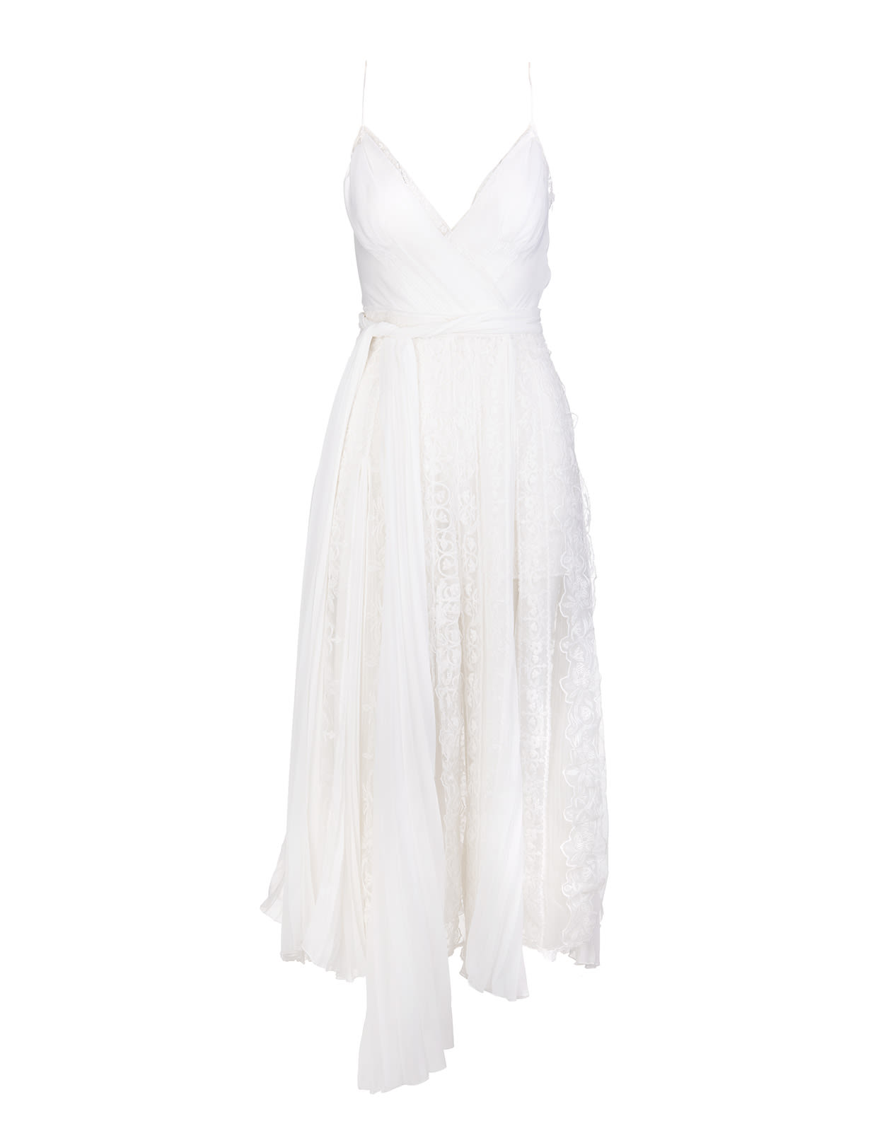 Ermanno Scervino White Midi Dress With Lace And Pleated Skirt