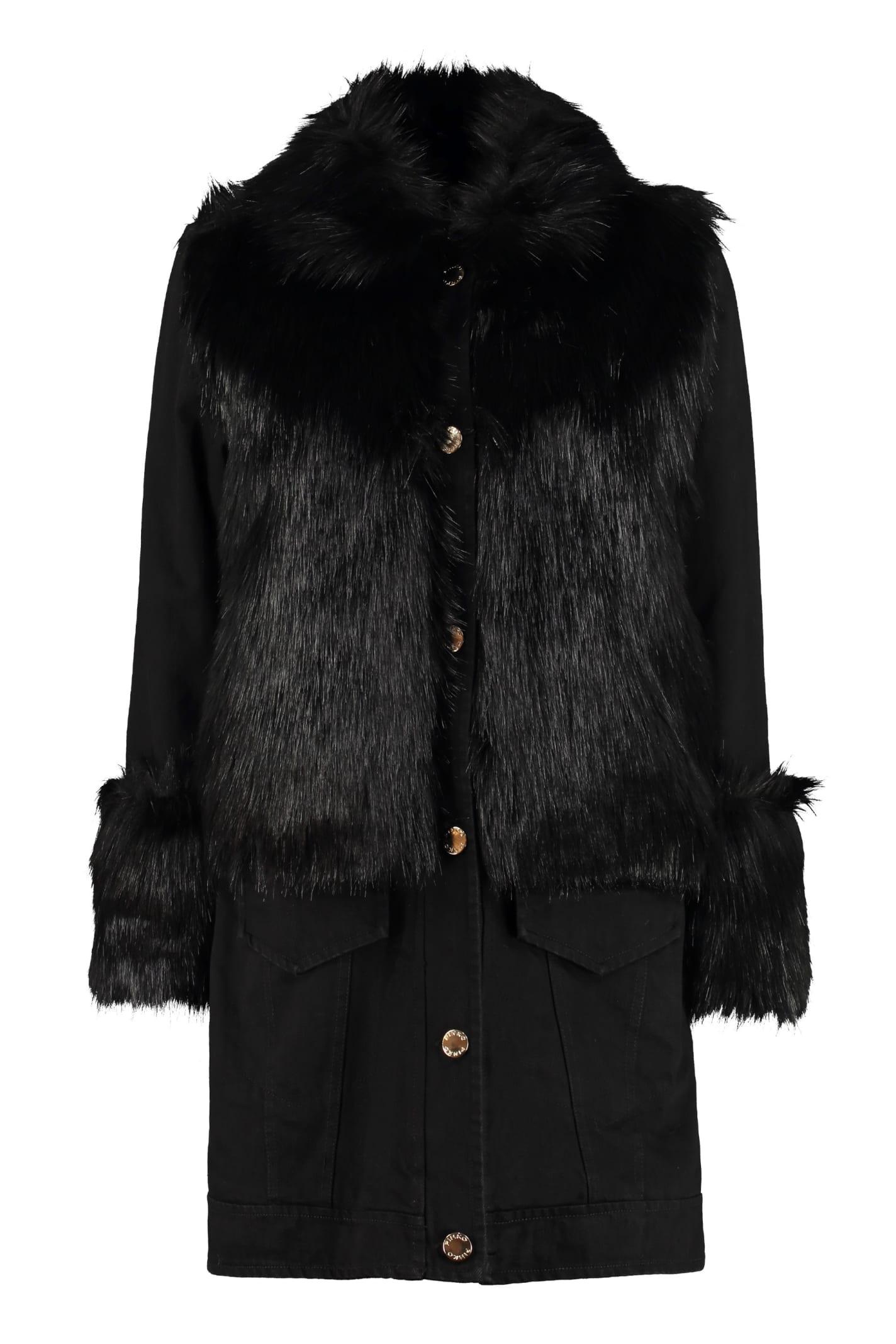 Pinko Willow Faux Fur Detail Denim Jacket