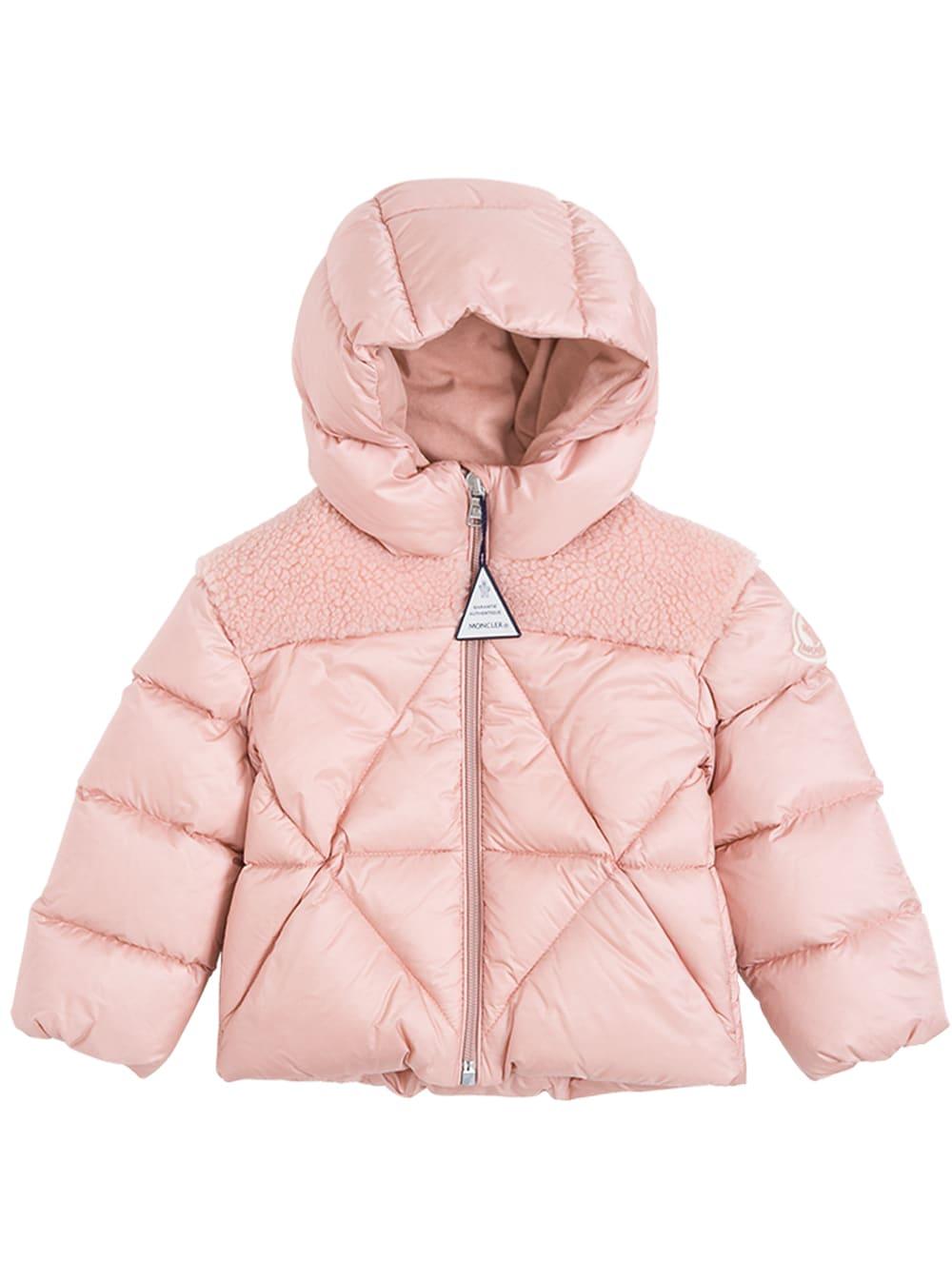 Moncler Pink Arabette Nylon Down Jacket With Teddy Insert