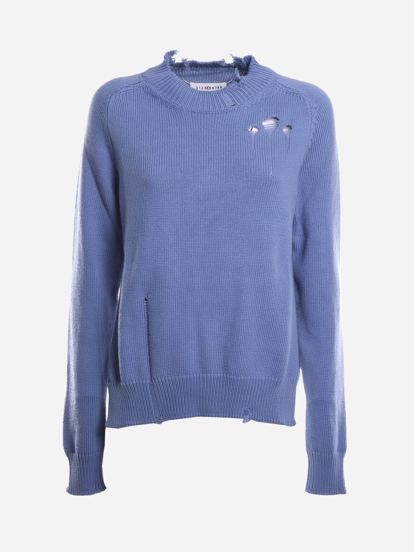 Maison Margiela COTTON PULLOVER WITH DESTROYED DETAILS