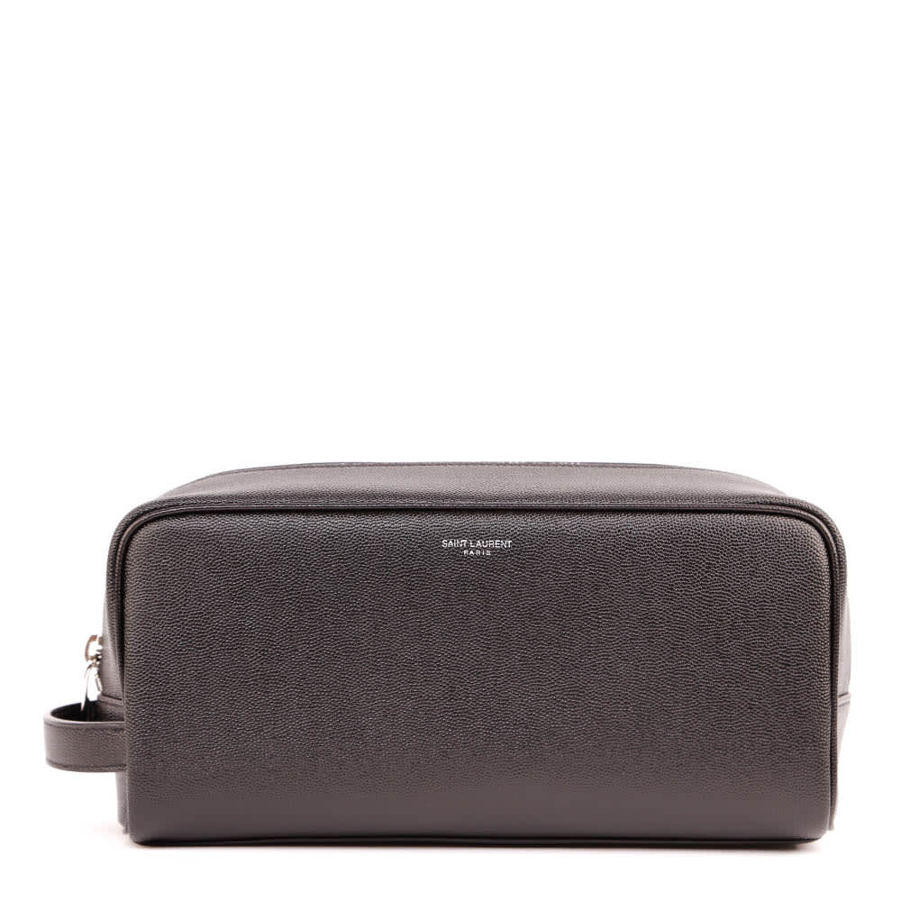 Saint Laurent Black Leather Cosmetic Pouch With Logo