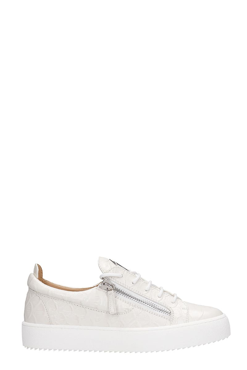 Giuseppe Zanotti Leathers FRANKIE SNEAKERS IN WHITE LEATHER