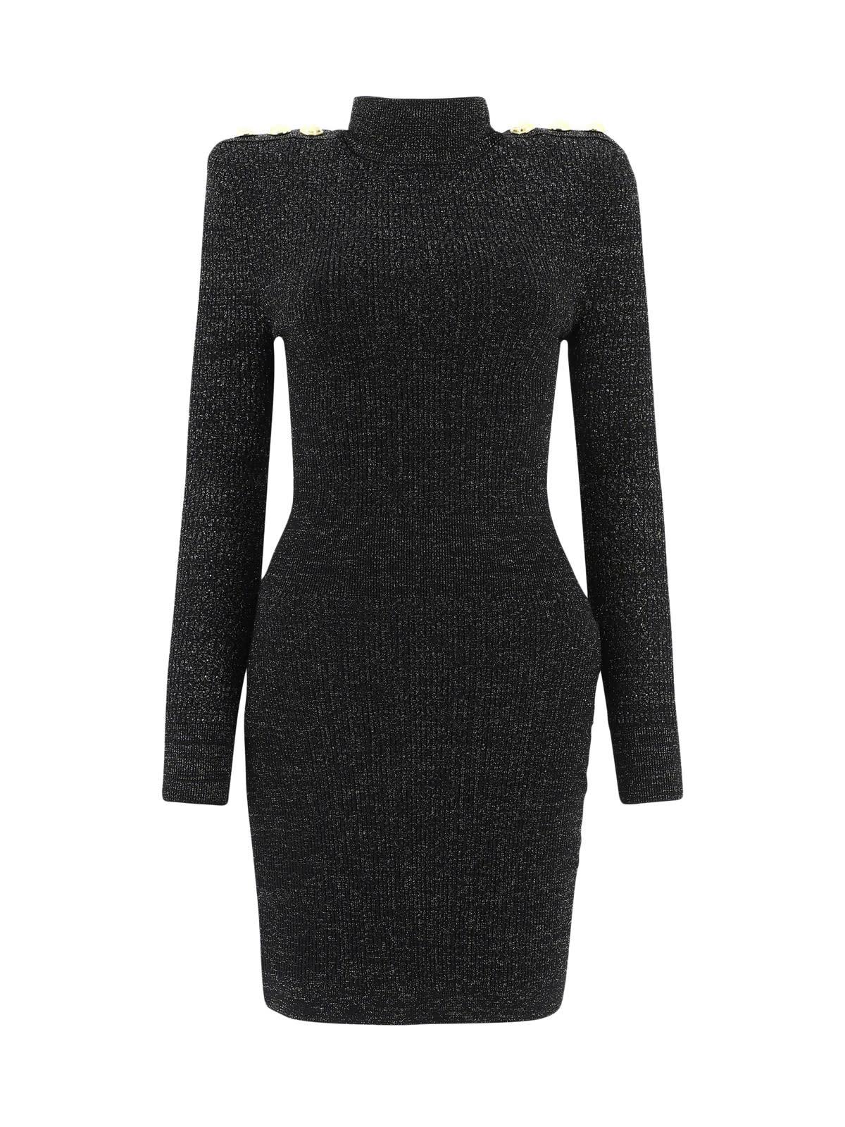 Balmain Short Ls High-neck Lurex Knit Dress