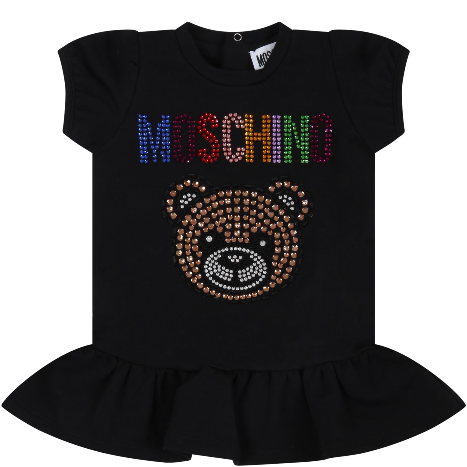 Moschino Kids' Black Dress For Babygirl With Teddy Bear