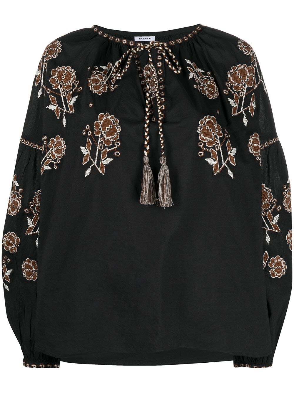 P.A.R.O.S.H. COTTON BLOUSE WITH FLORAL EMBROIDERY