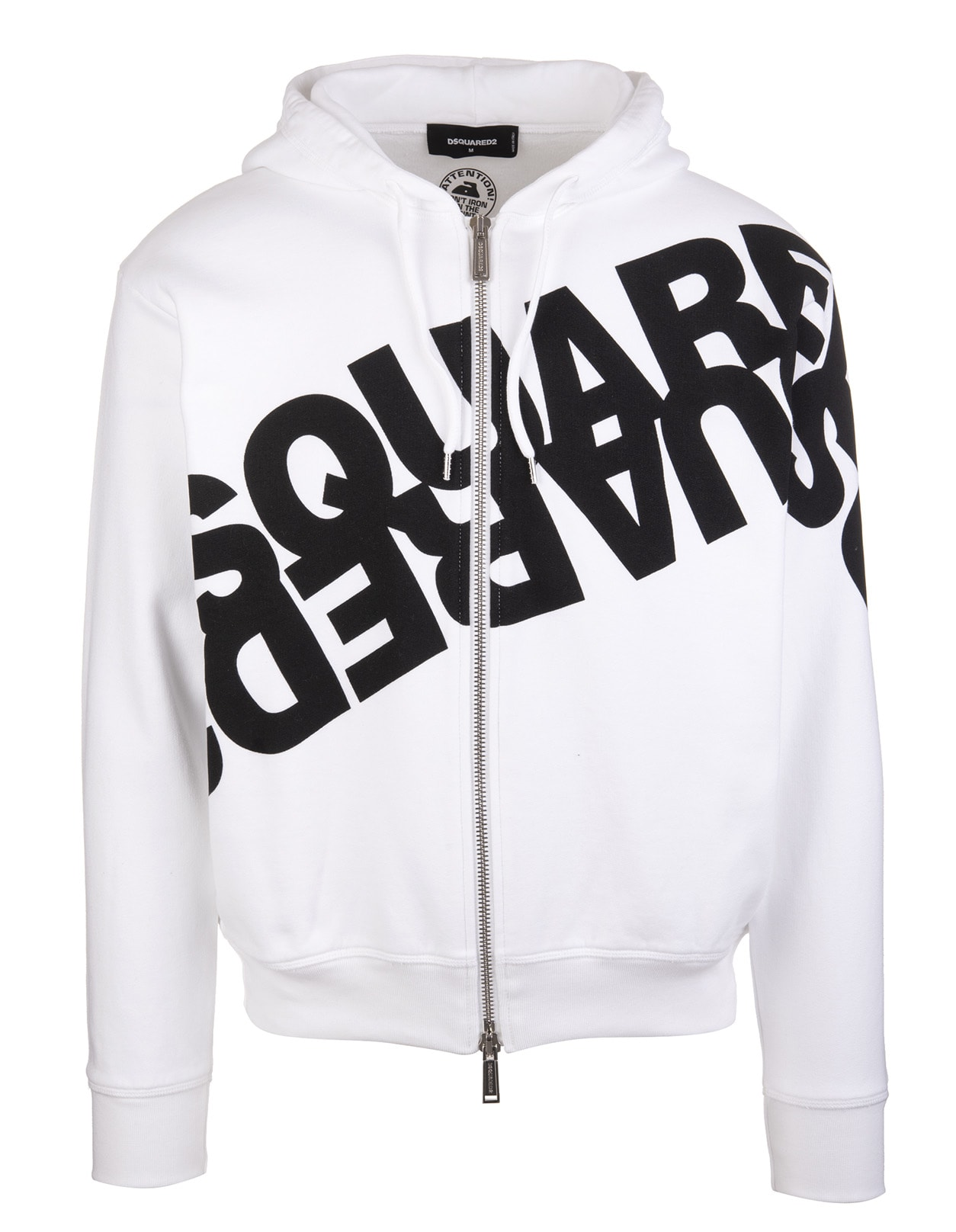 Man White Hoodie With Zip And Mirrored Logo