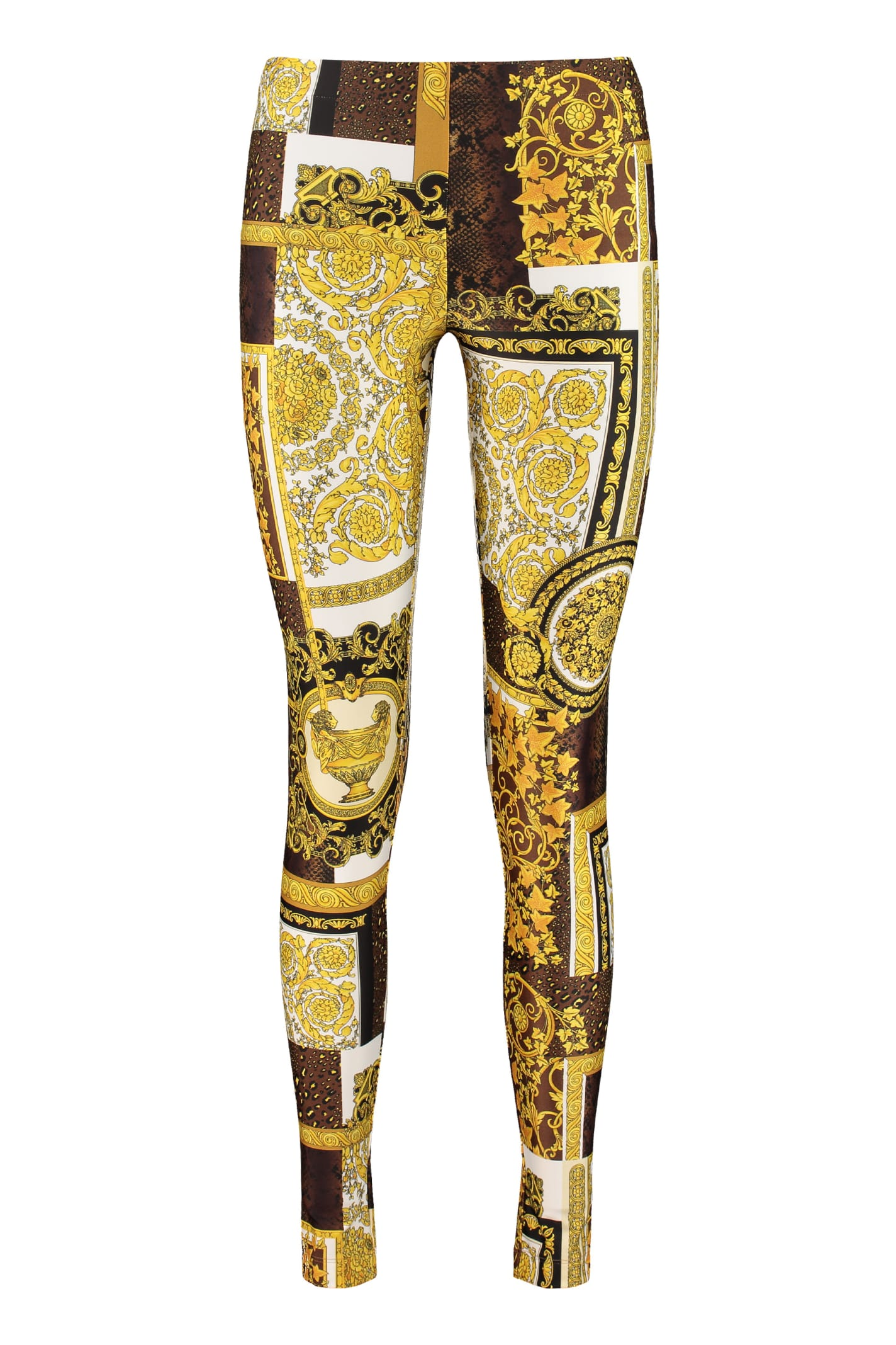 Versace Printed Leggings In Multicolor