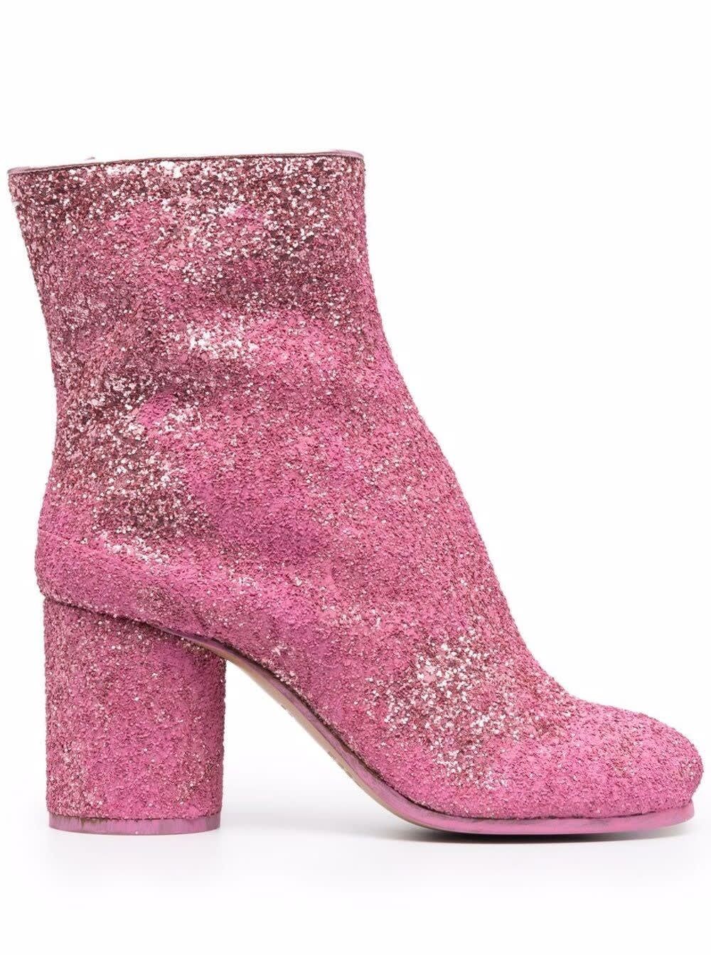 Buy Maison Margiela Glittred Pink Tabi Booties online, shop Maison Margiela shoes with free shipping