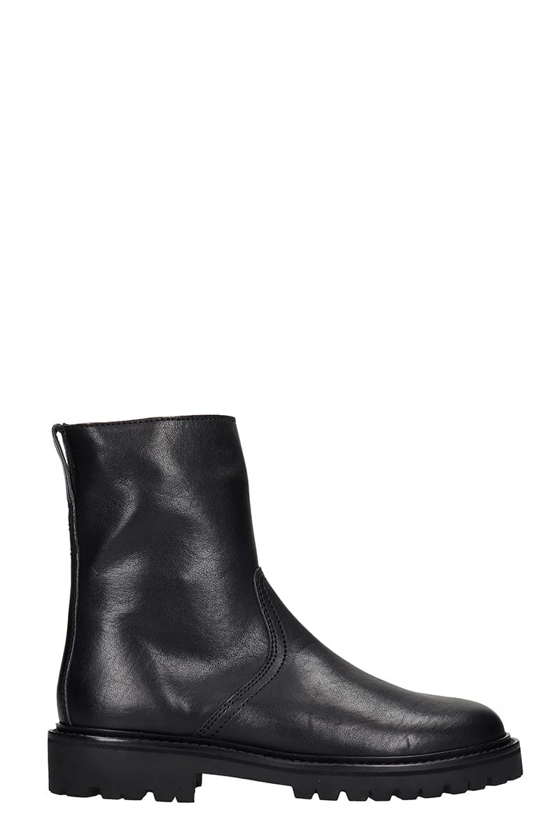 Isabel Marant CRONOS LOW HEELS ANKLE BOOTS IN BLACK LEATHER