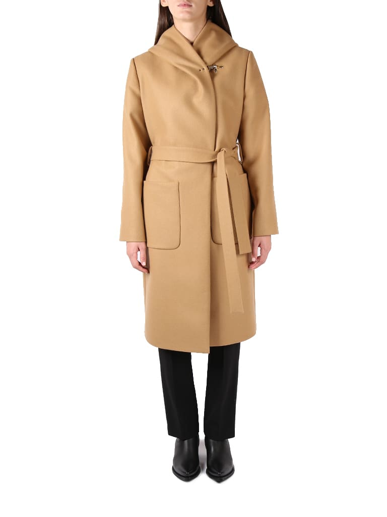 Light camel Fay Wool Robe Coat from Fay -Robe model -Waist belt -Large frontal pocket -Calf design -Made in Italy -The model is 178cm tall and wears size S -Color: Camel -100% Wool