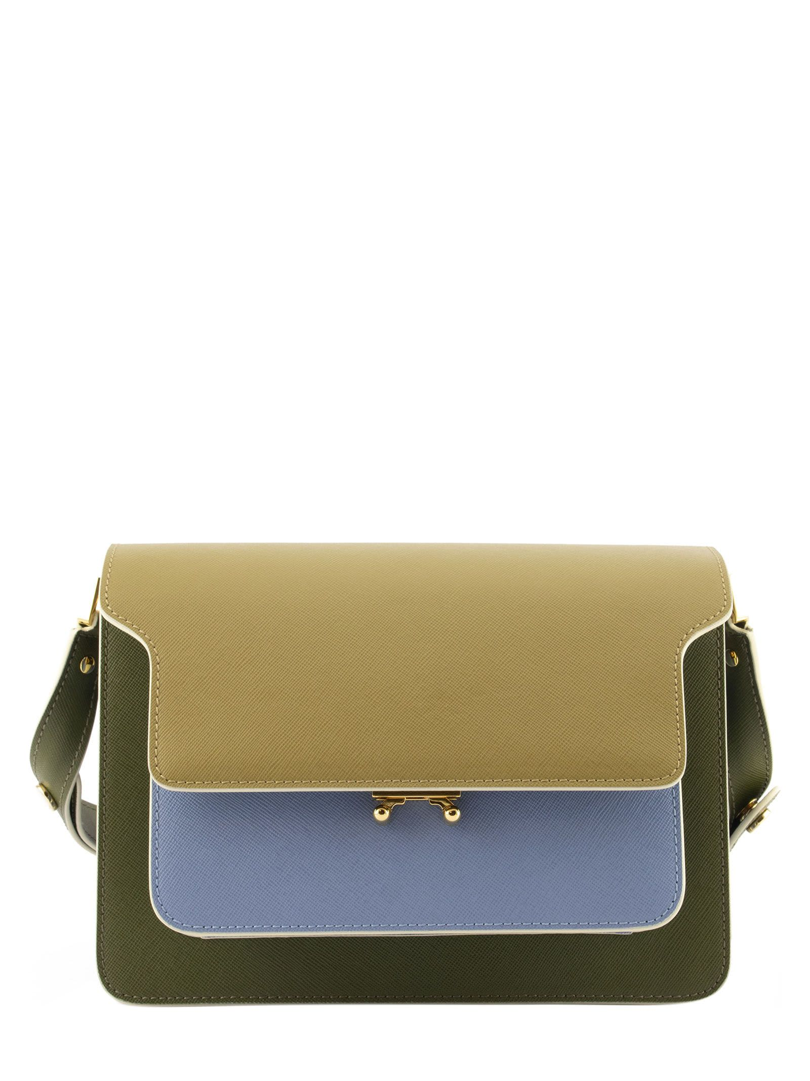 Marni Pants TRUNK BAG IN SMOOTH CALF BEIGE PALE BLUE AND GREEN