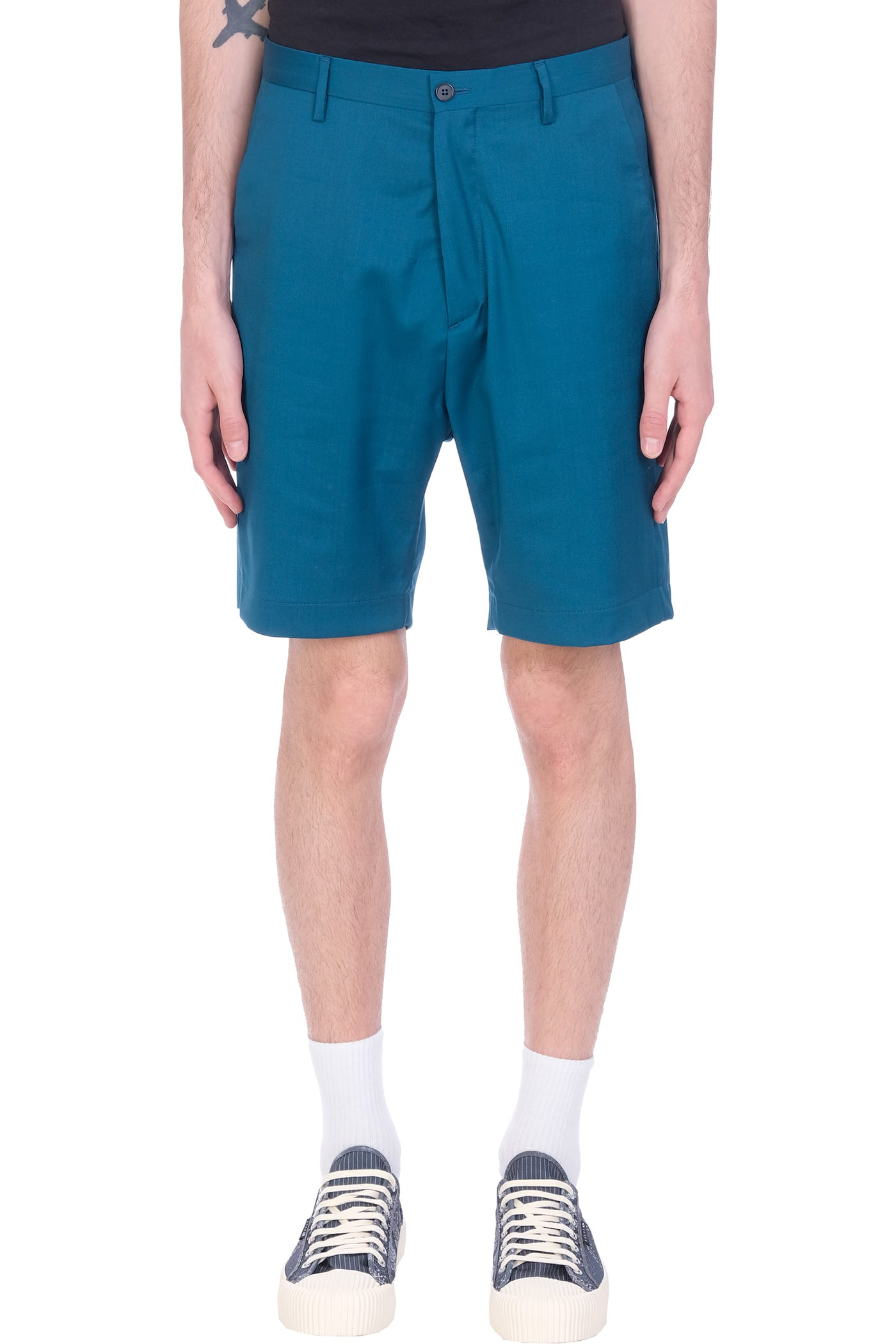 Zack Shorts In Petroleum Wool