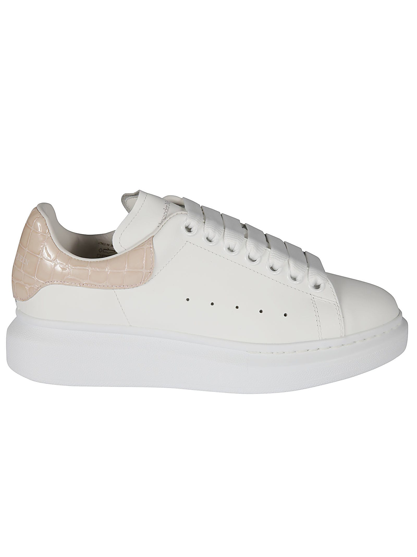 Alexander McQueen Woman White And Crocodile Effect Oversized Sneakers