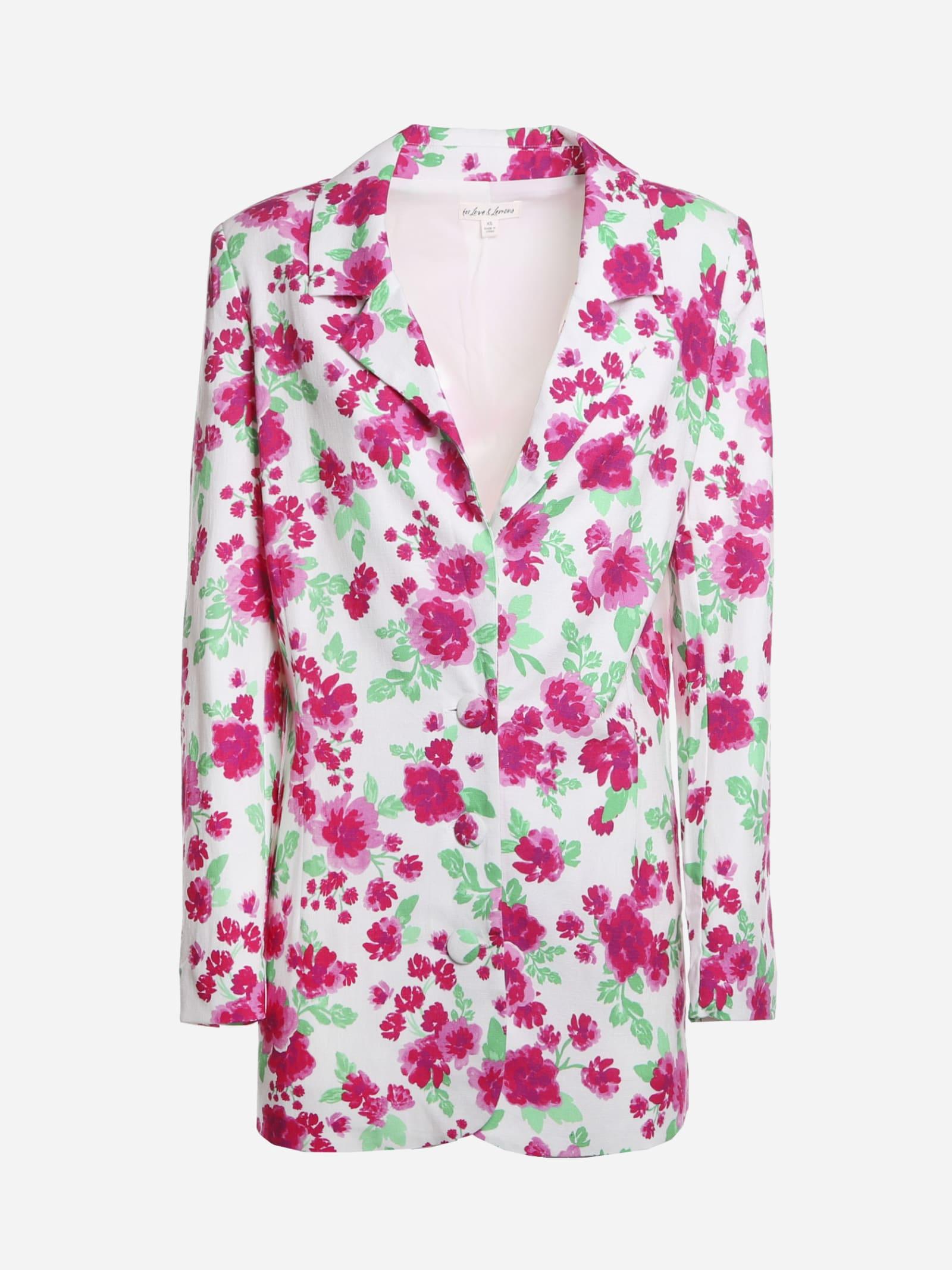 Stretch Linen Blazer With Floral Print
