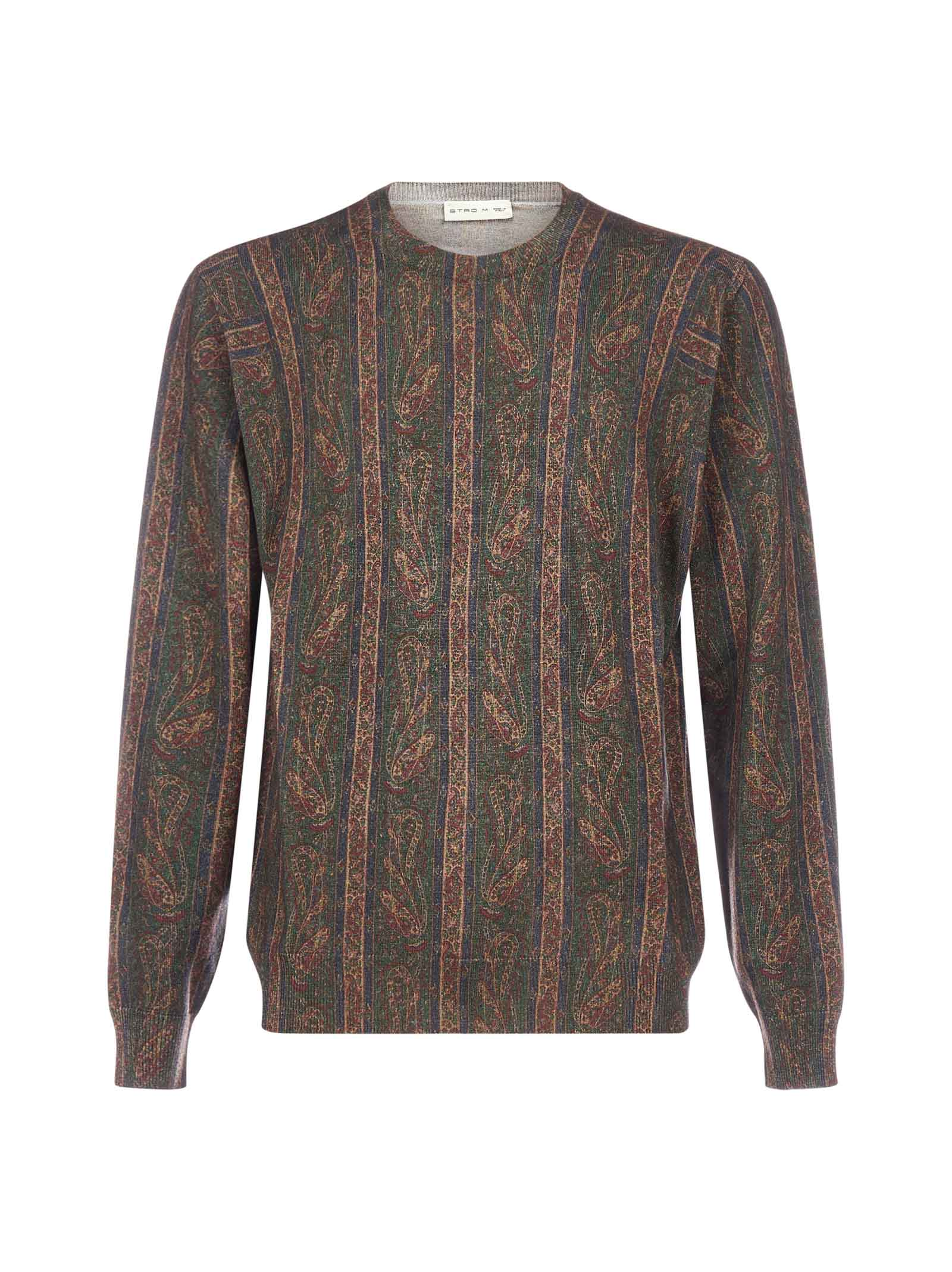 Etro Paisley Striped Wool Sweater