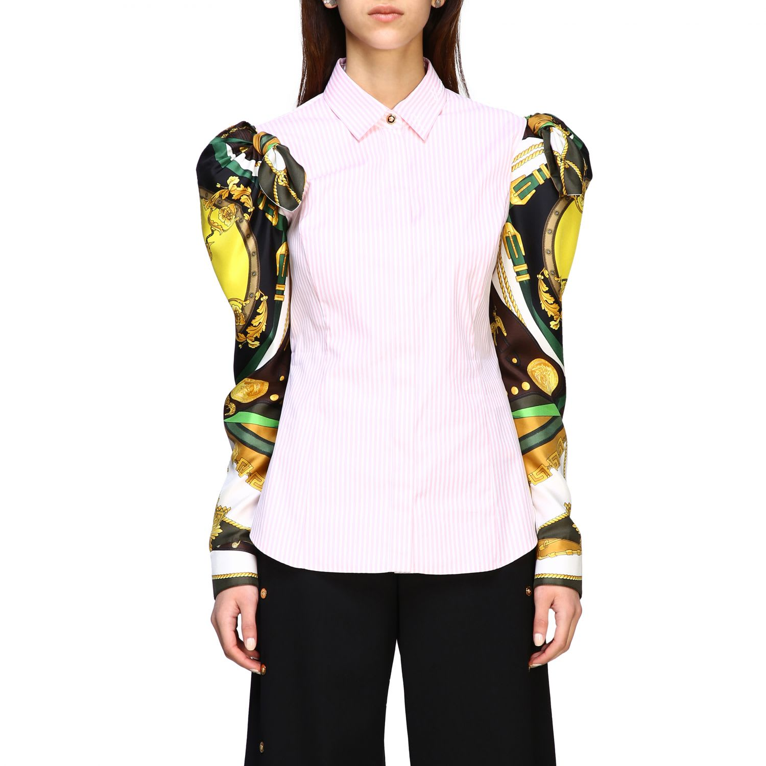 Versace Shirt Versace Striped Cotton Shirt With Printed Rodeo Sleeves