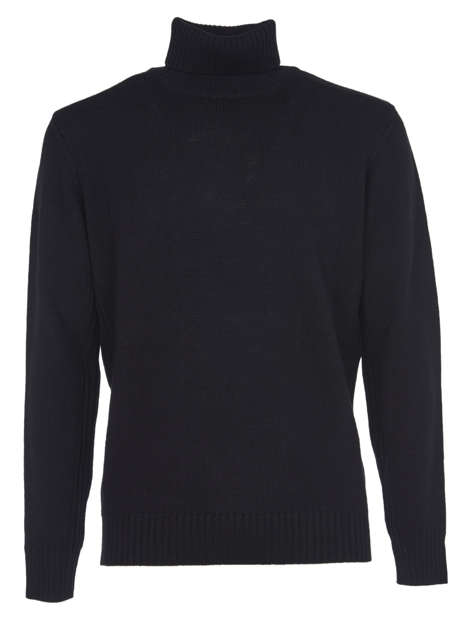 Turtleneck Black Merinos Wool Kangra