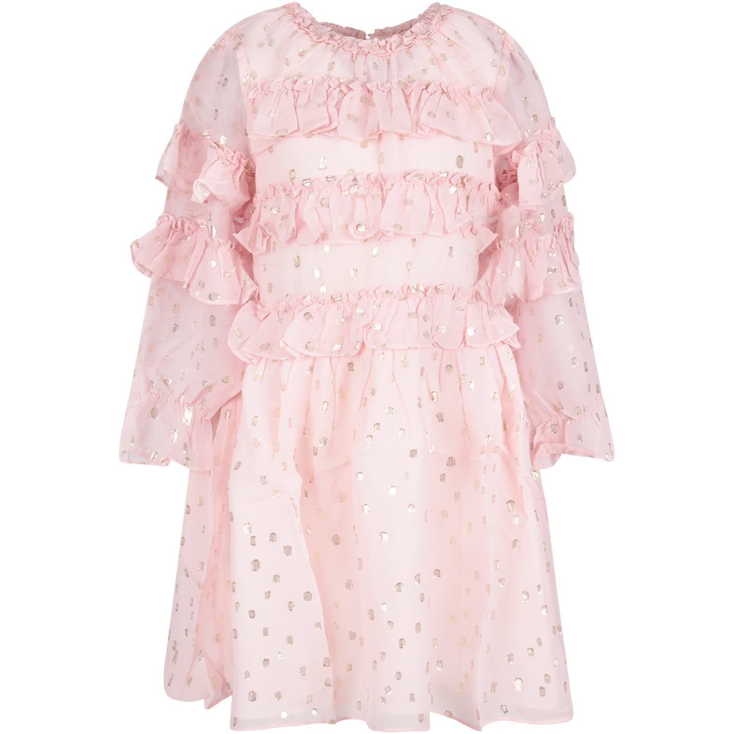 Velveteen Pink Girl luna Dress With Gold Polka-dots