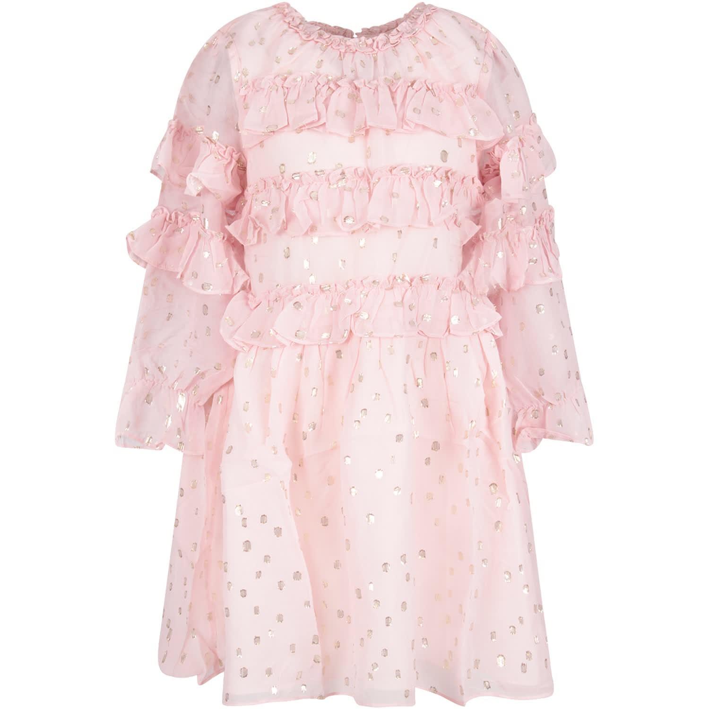 Velveteen Pink Girl luna Dress With Gold Polka-dots