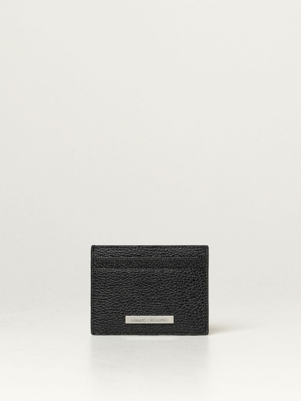Armani Exchange Wallet Armani Exchange Credit Card Holder In Textured Leather