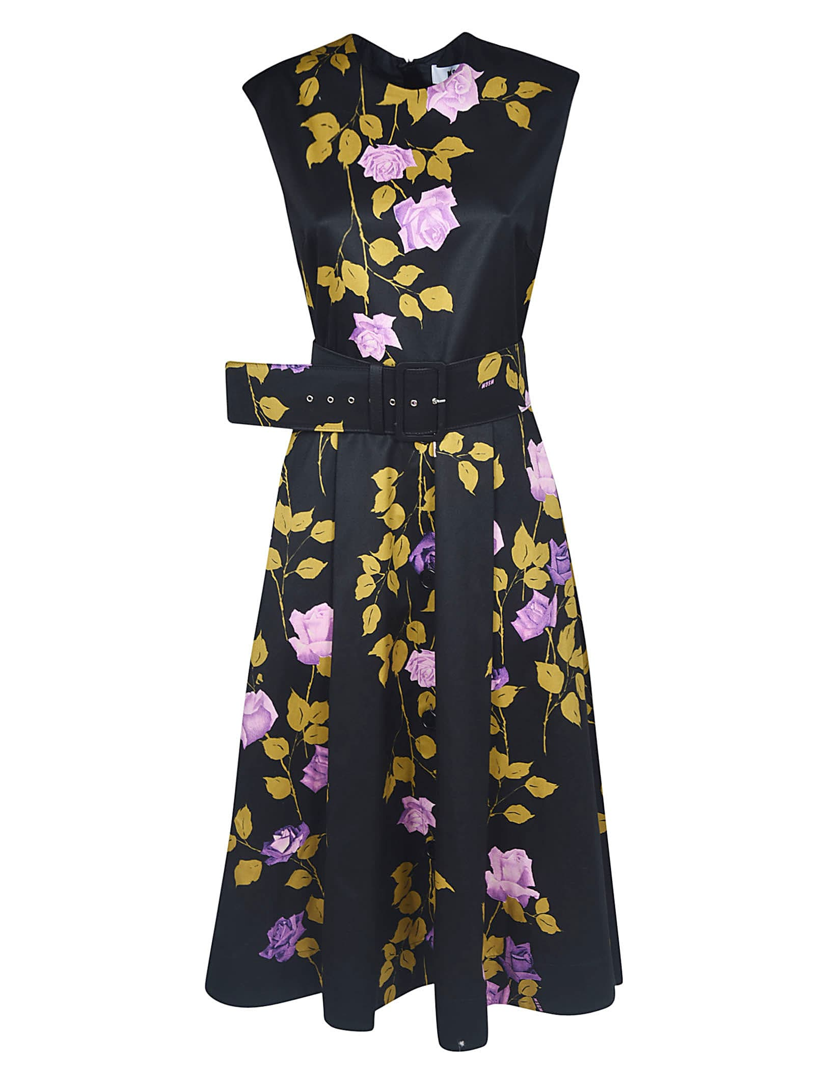 Buy MSGM Belted Floral Flared Dress online, shop MSGM with free shipping