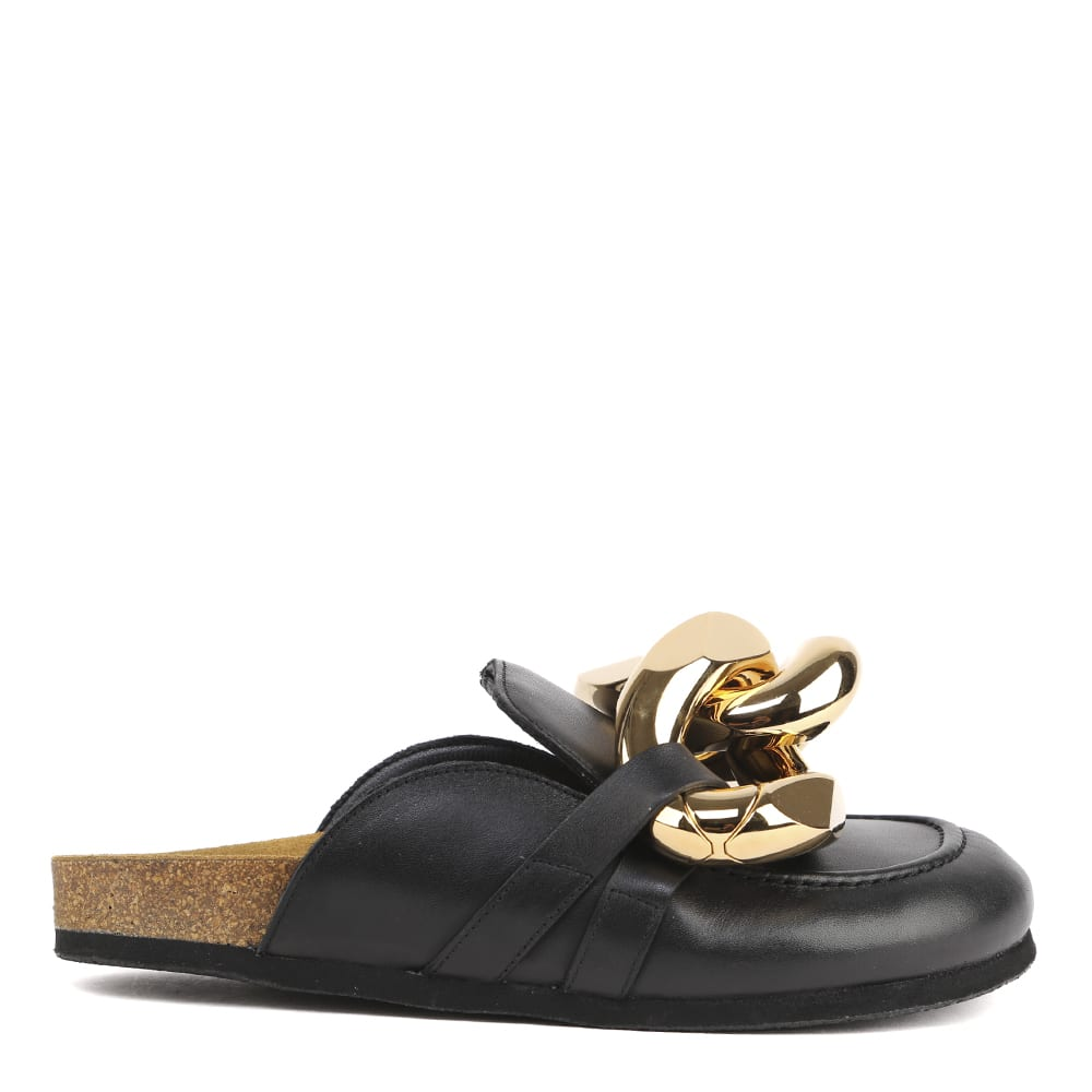 Jw Anderson Leathers BLACK LEATHER CHAIN MULES