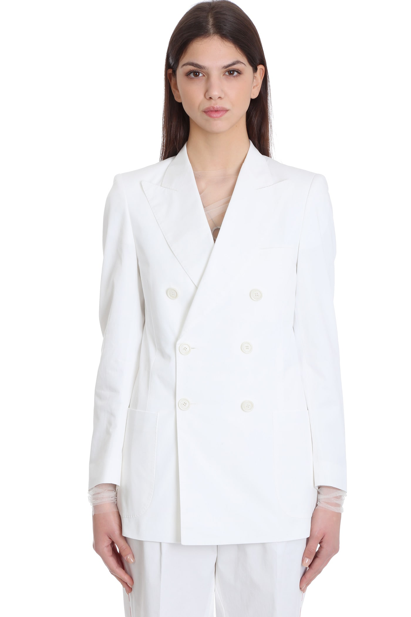 Maison Margiela BLAZER IN WHITE COTTON